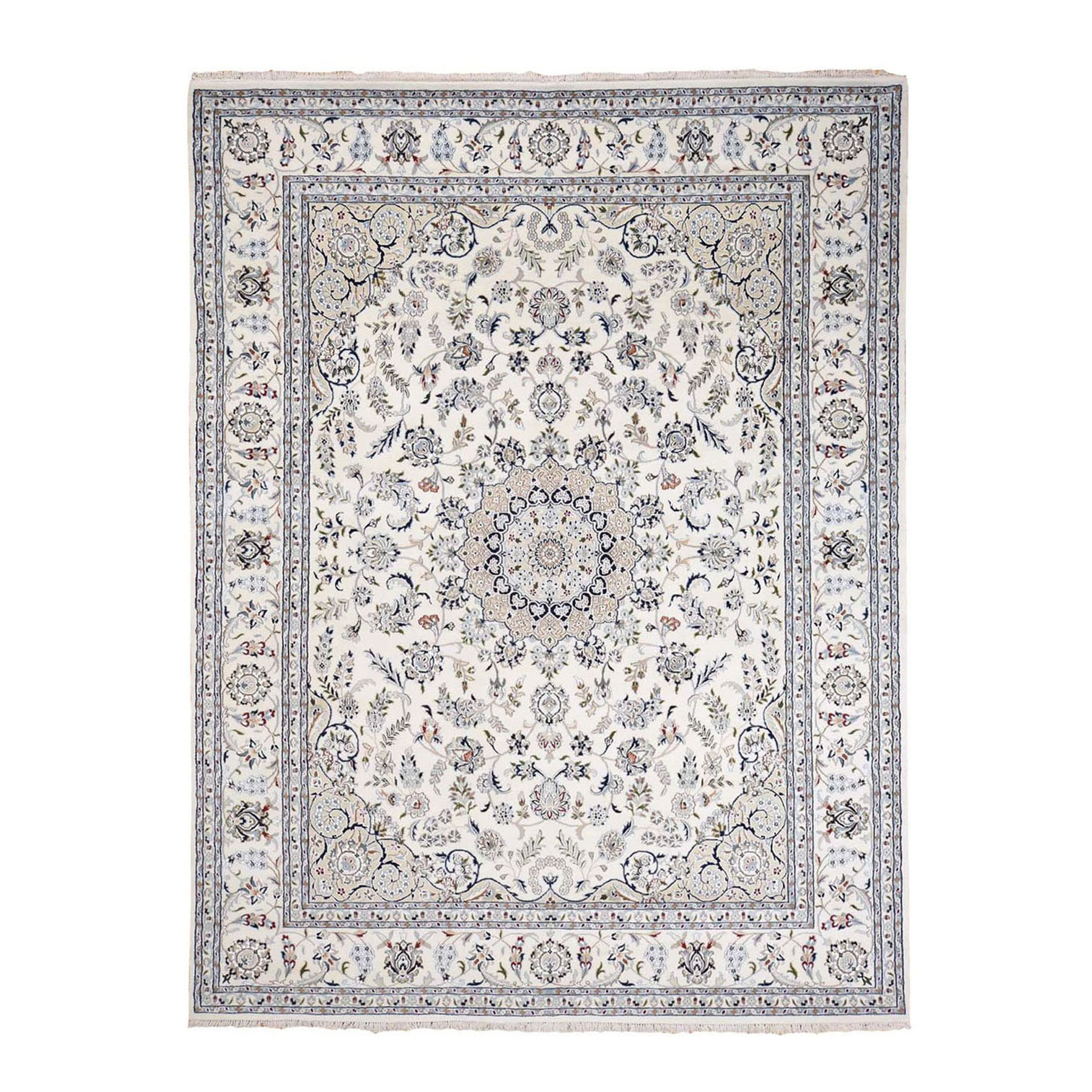 "7'10""x10' Wool And Silk 250 KPSI Ivory Nain Hand Woven Oriental Rug"