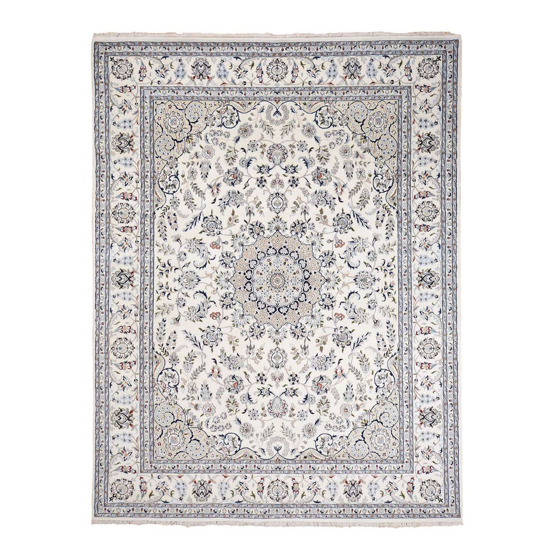 8'x10' Wool And Silk 250 KPSI Ivory Nain Hand Woven Oriental Rug