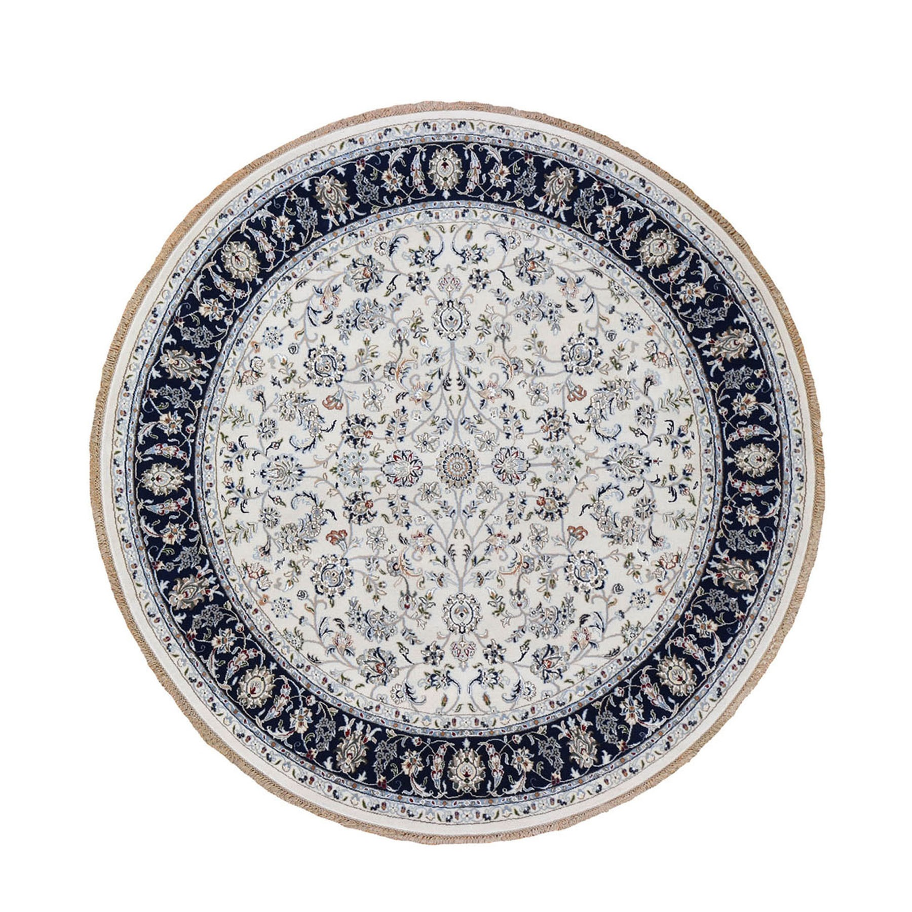 "8'1""x8'1"" Ivory Nain Wool And Silk 250 KPSI All Over Design Hand Woven Round Oriental Rug"