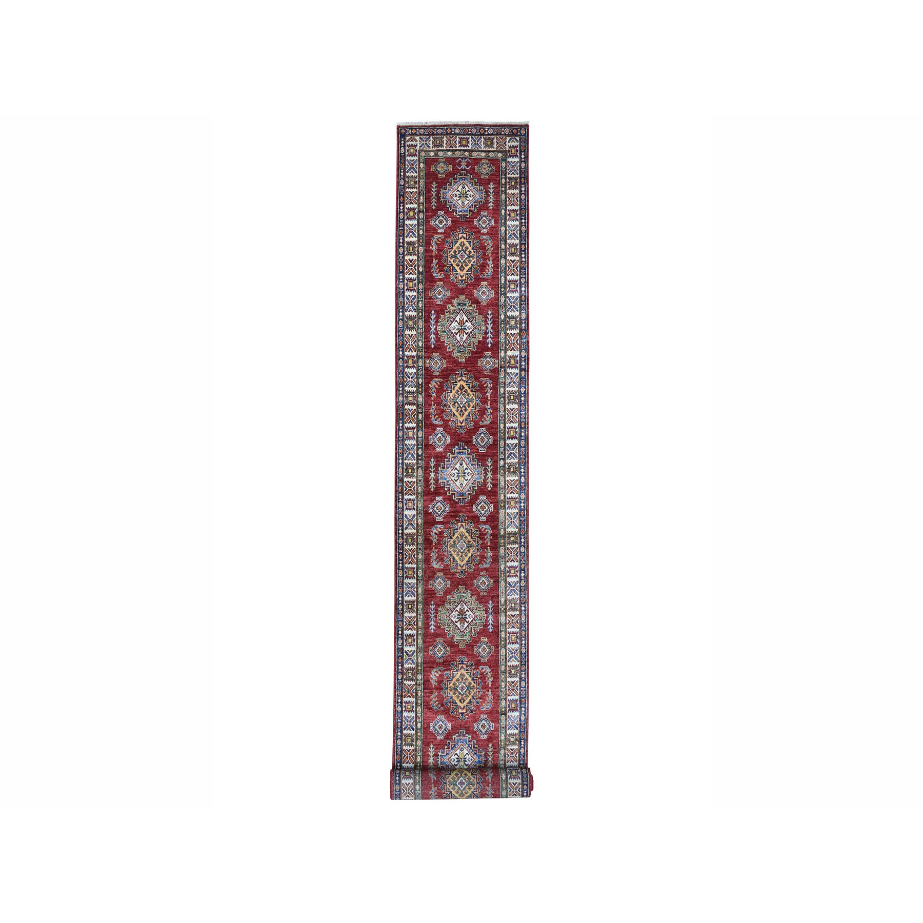 "2'8""x20'6"" Super Kazak Red Geometric Design Pure Wool Hand Woven XL Runner Oriental Rug"