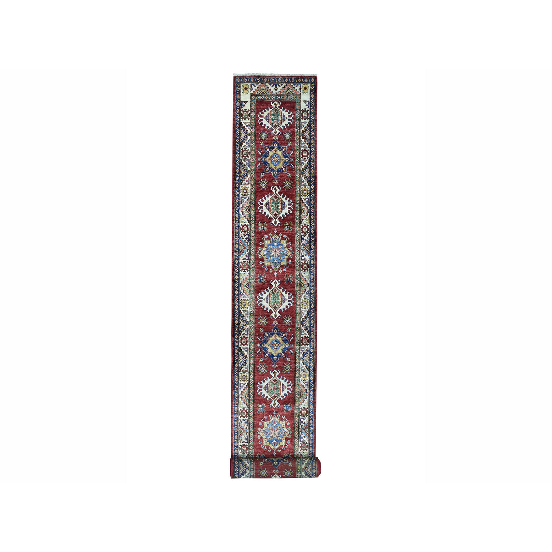 "2'8""x19'3"" Super Kazak Red Geometric Design Pure Wool Hand Woven XL Runner Oriental Rug"