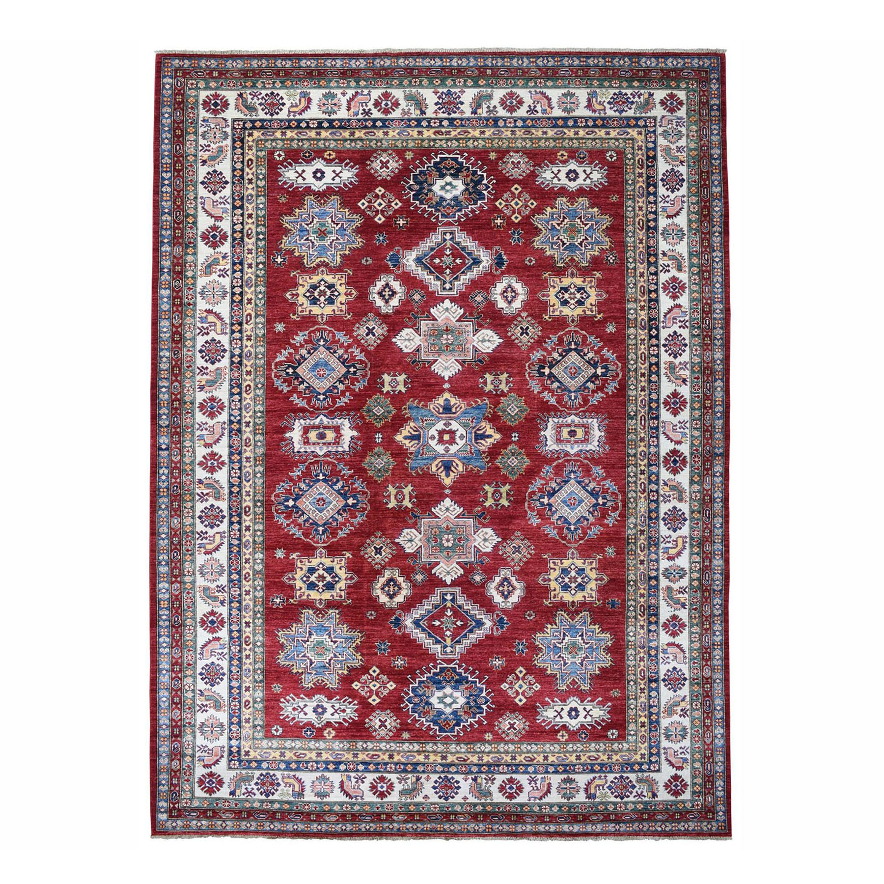 "8'9""x11'9"" Red Super Kazak Pure Wool Geometric Design Hand Woven Oriental Rug"