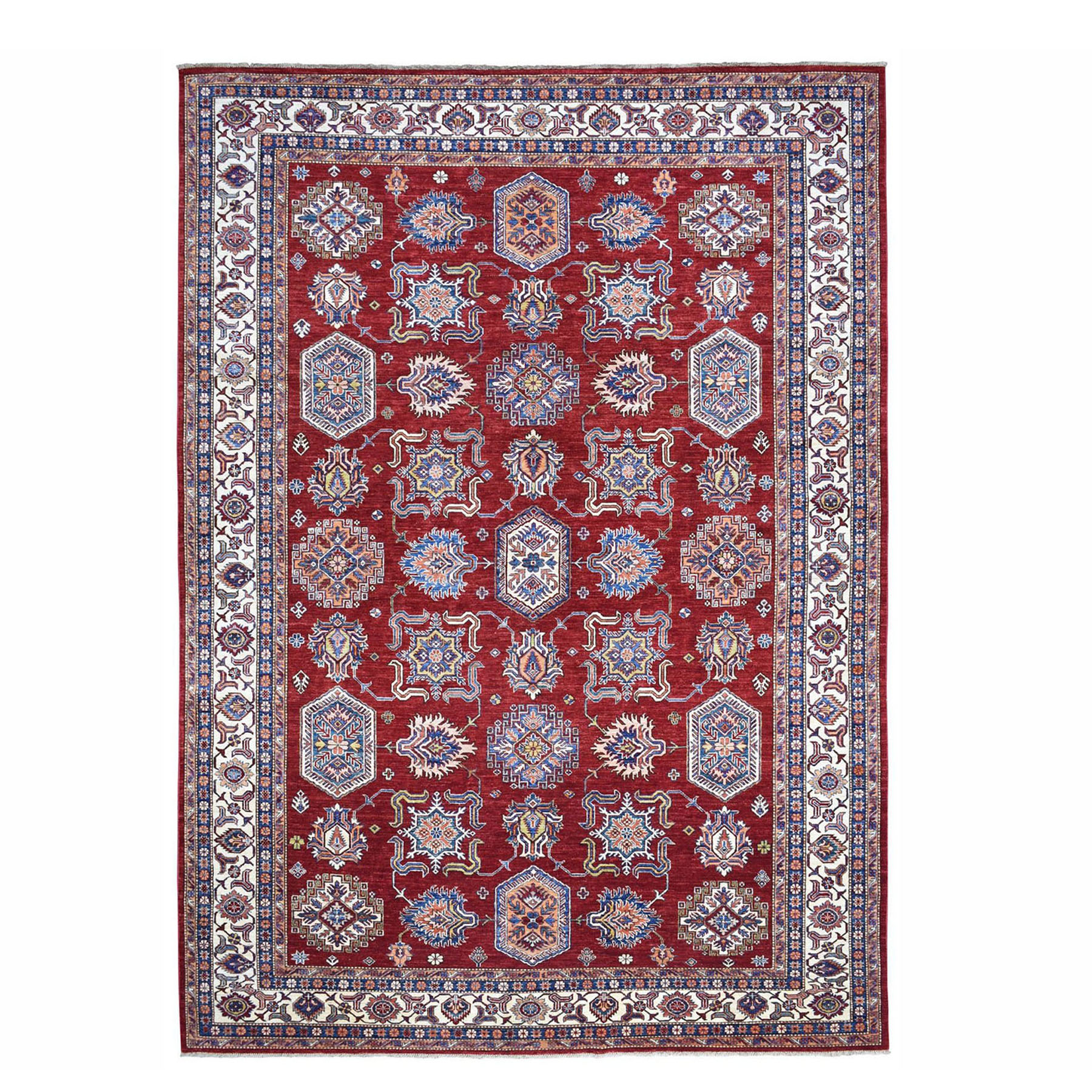 "8'10""x11'9"" Red Super Kazak Pure Wool Geometric Design Hand Woven Oriental Rug"