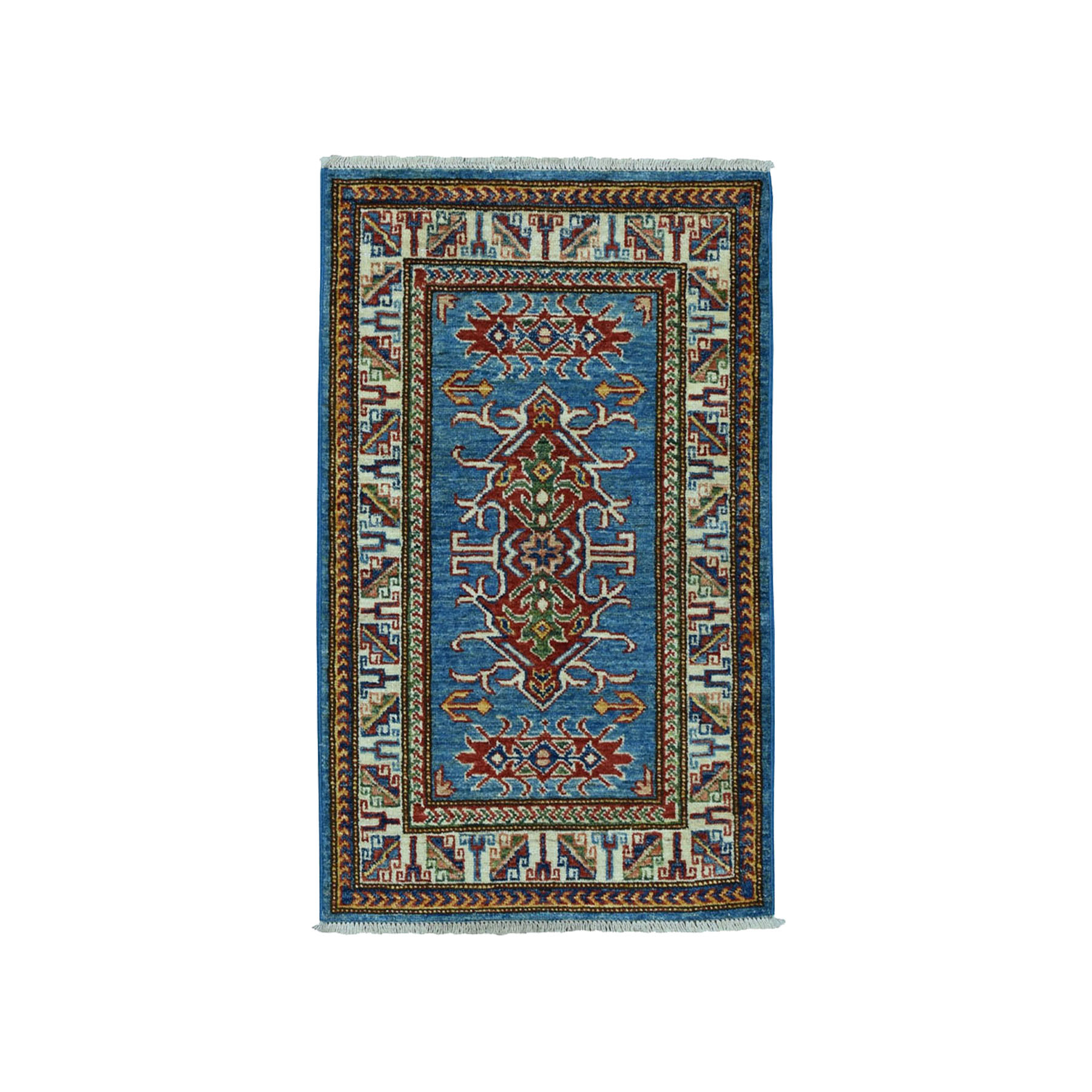 "2'x3'2"" Blue Super Kazak Pure Wool Geometric Design Hand Woven Oriental Rug"