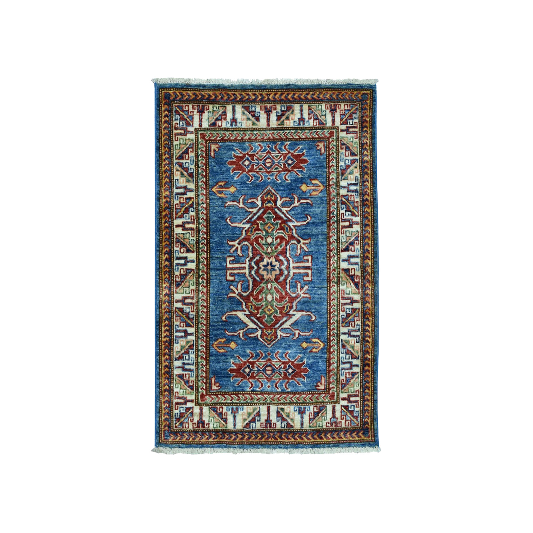 "2'1""x3' Super Kazak Pure Wool Blue Geometric Design Hand Woven Oriental Rug"