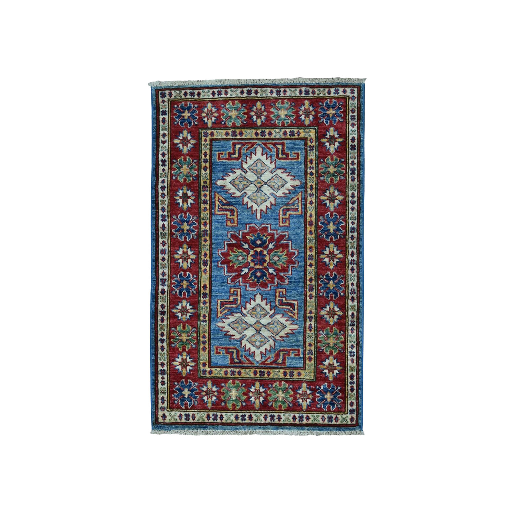 "2'1""x3' Red Super Kazak Pure Wool Geometric Design Hand Woven Oriental Rug"