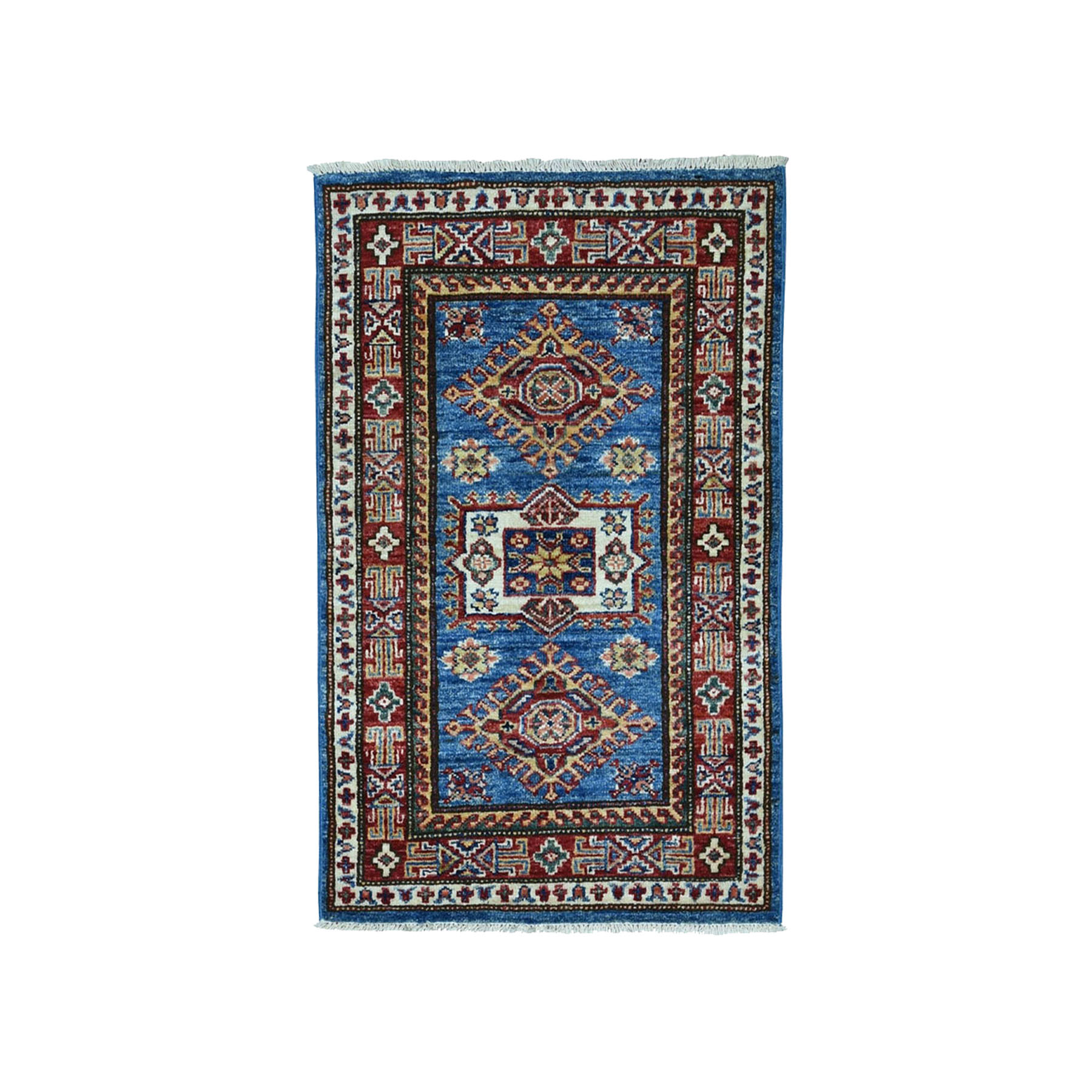 2'x3' Super Kazak Pure Wool Blue Geometric Design Hand Woven Oriental Rug