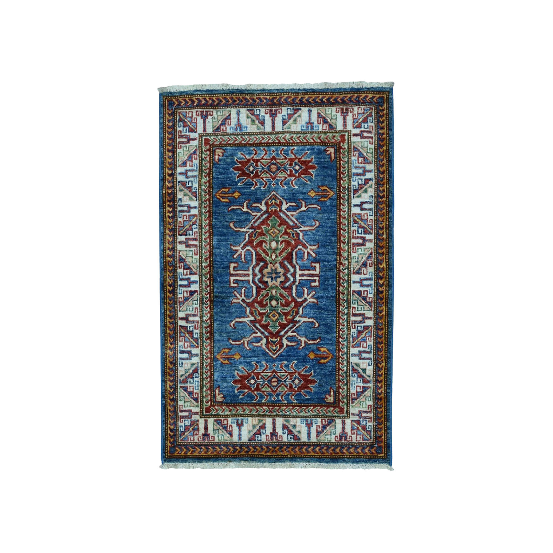 "2'2""x3' Blue Super Kazak Pure Wool Geometric Design Hand Woven Oriental Rug"
