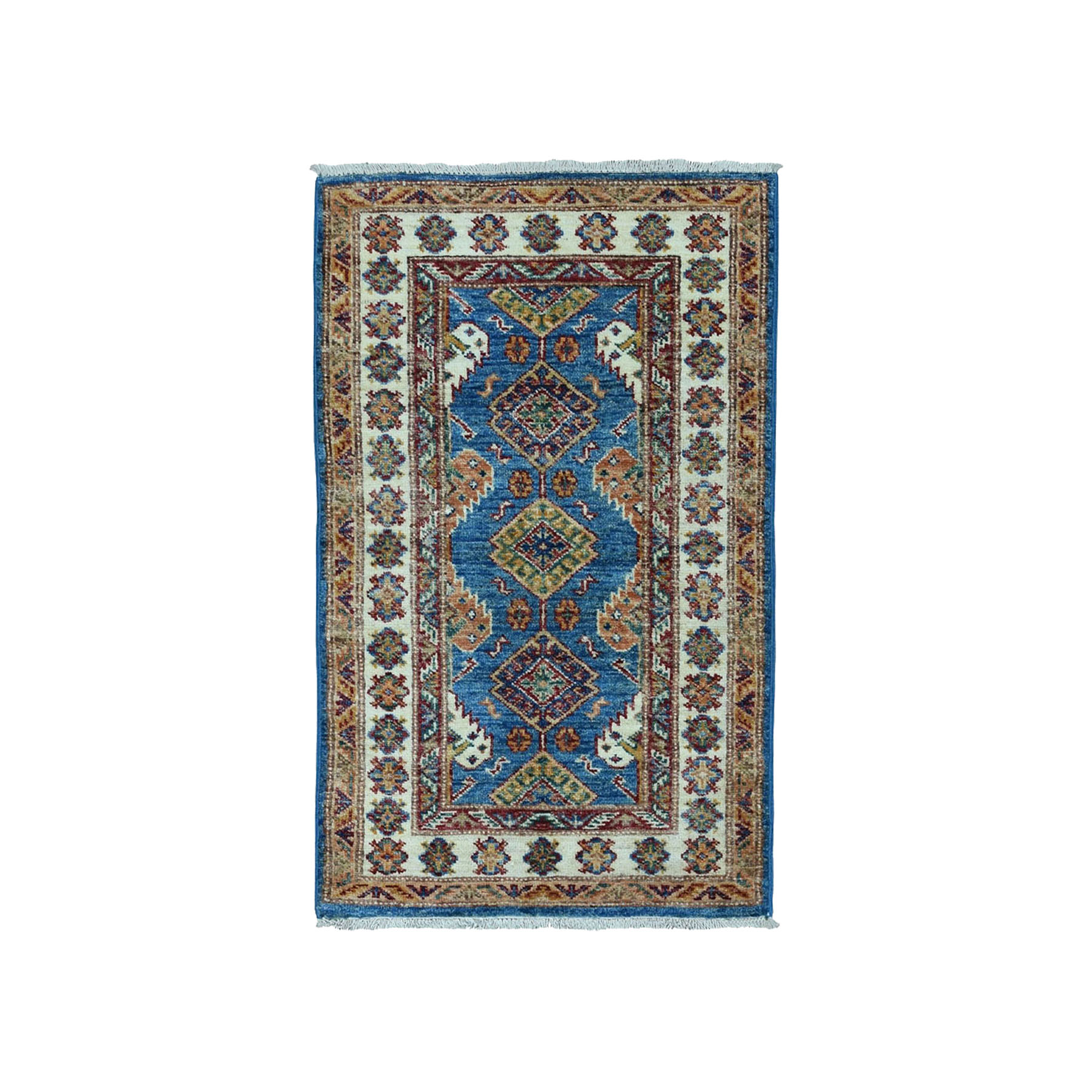 "2'x3'1"" Blue Super Kazak Pure Wool Geometric Design Hand Woven Oriental Rug"