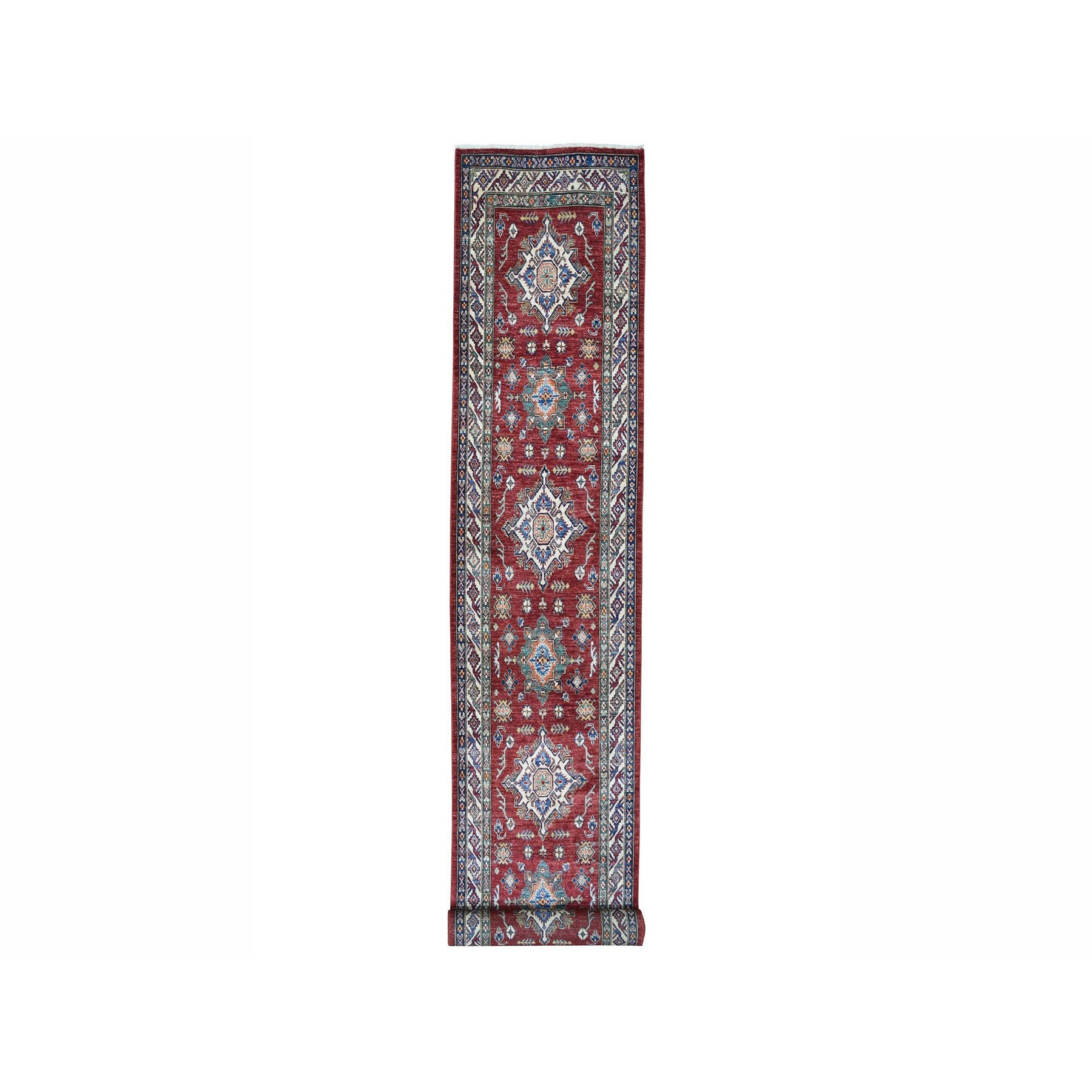 "3'3""x18'7"" Super Kazak Red Geometric Design Pure Wool Hand Woven XL Runner Oriental Rug"