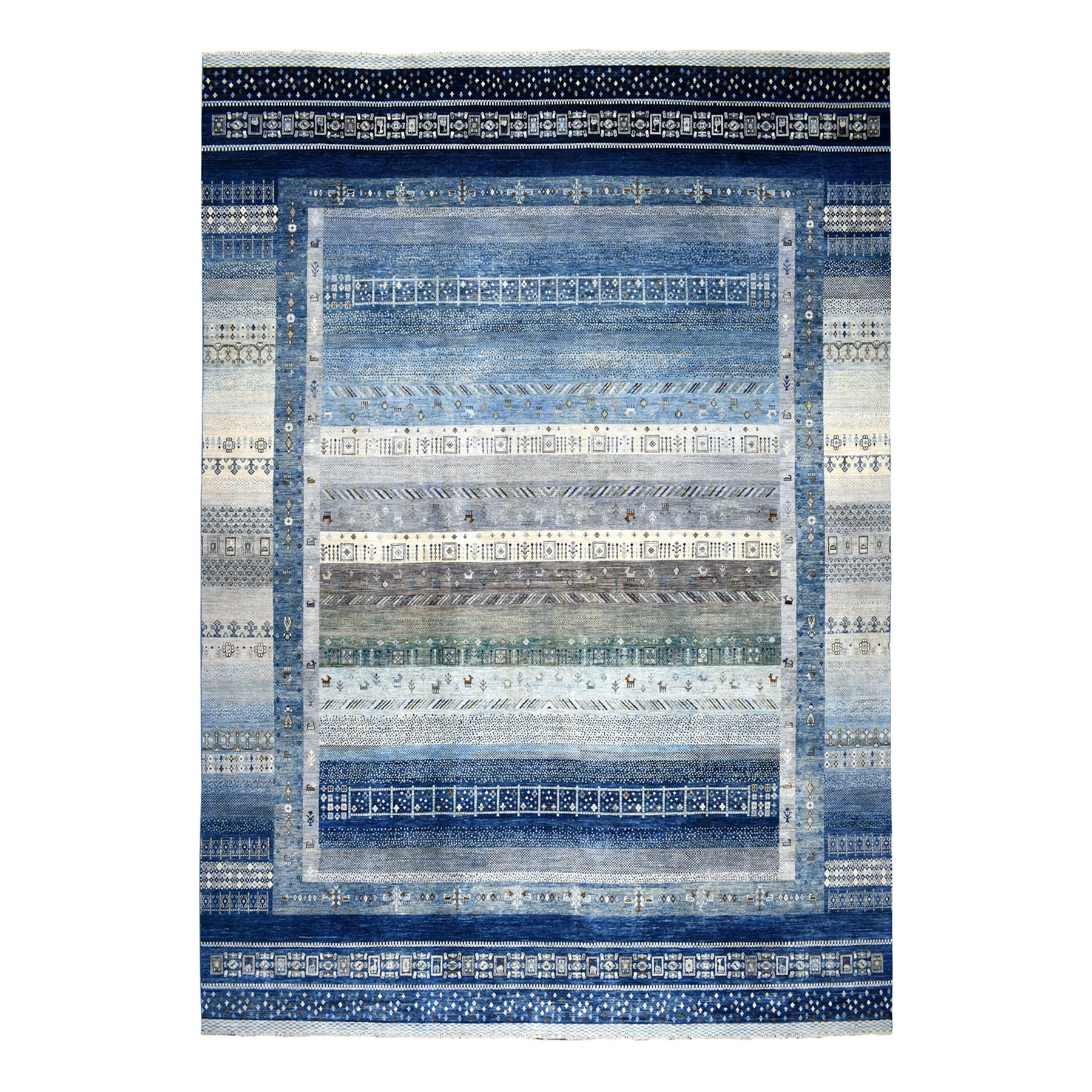 "11'9""x14'9"" Oversized Blue Kashkuli Gabbeh Pictorial Pure wool Hand-knotted Oriental Rug"