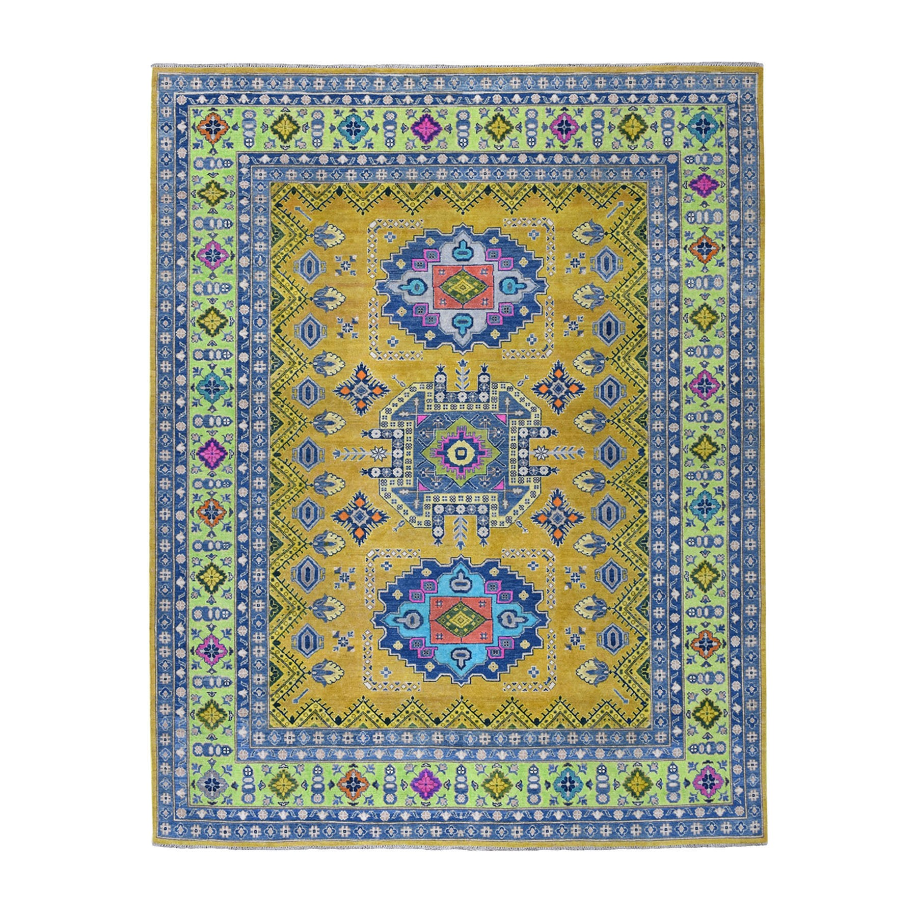 "7'10""x9'9"" Colorful Yellow Fusion Kazak Pure Wool Hand Woven Oriental Rug"