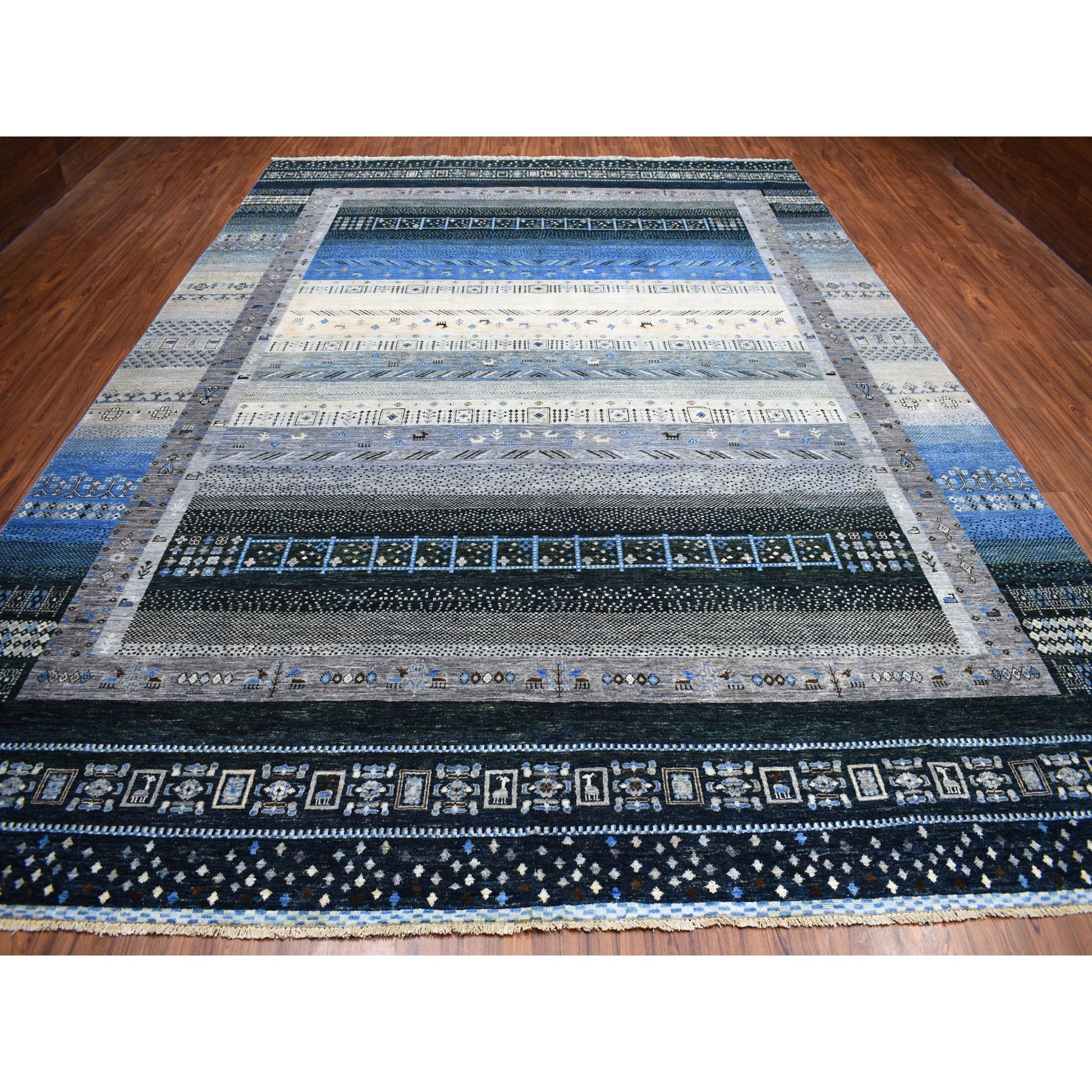 "9'10""x13'7"" Kashkuli Gabbeh Pictorial Pure wool Hand-knotted Oriental Rug"