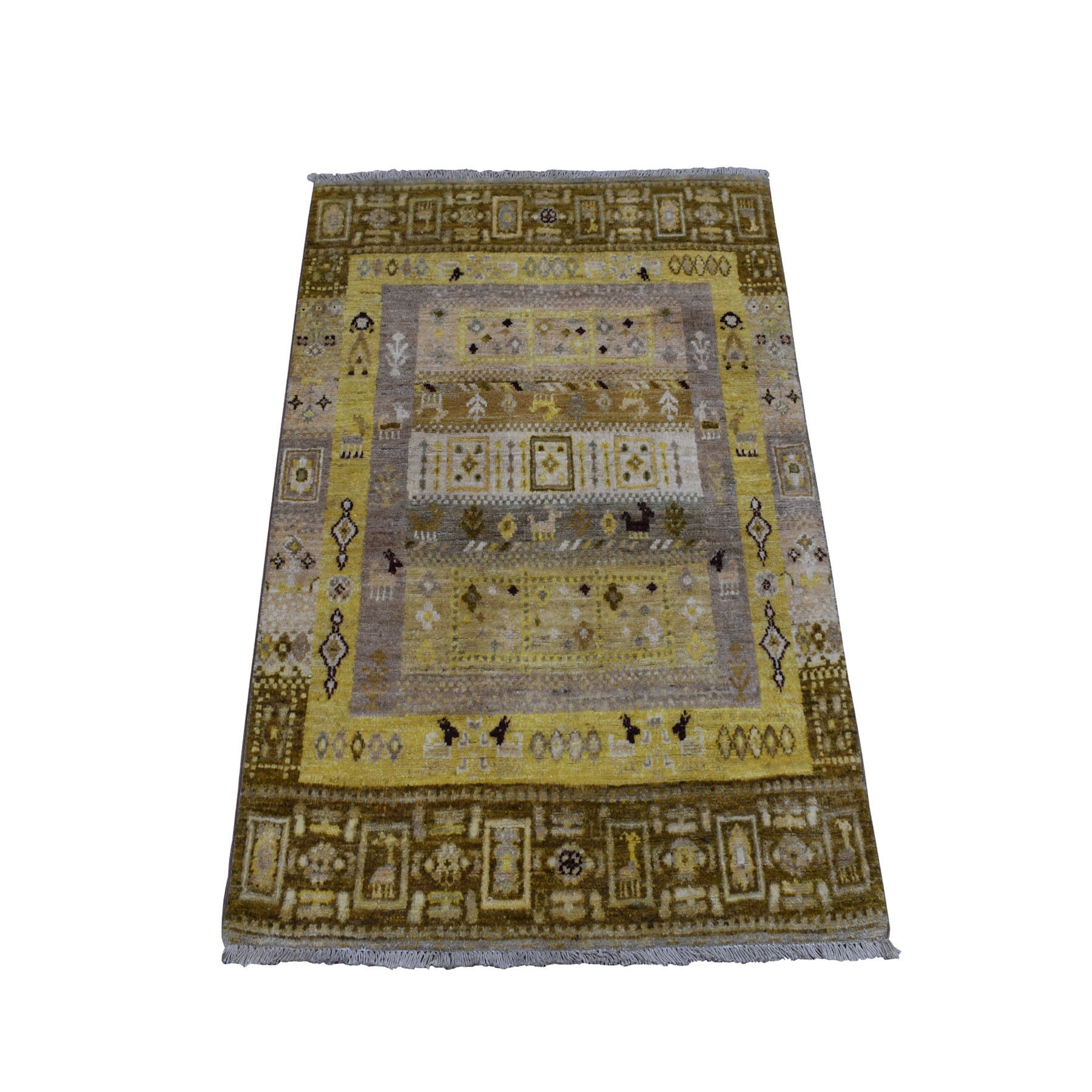 "2'8""x3'9"" Yellow Pure Wool Kashkuli Gabbeh Pictorial Hand Woven Oriental Rug"