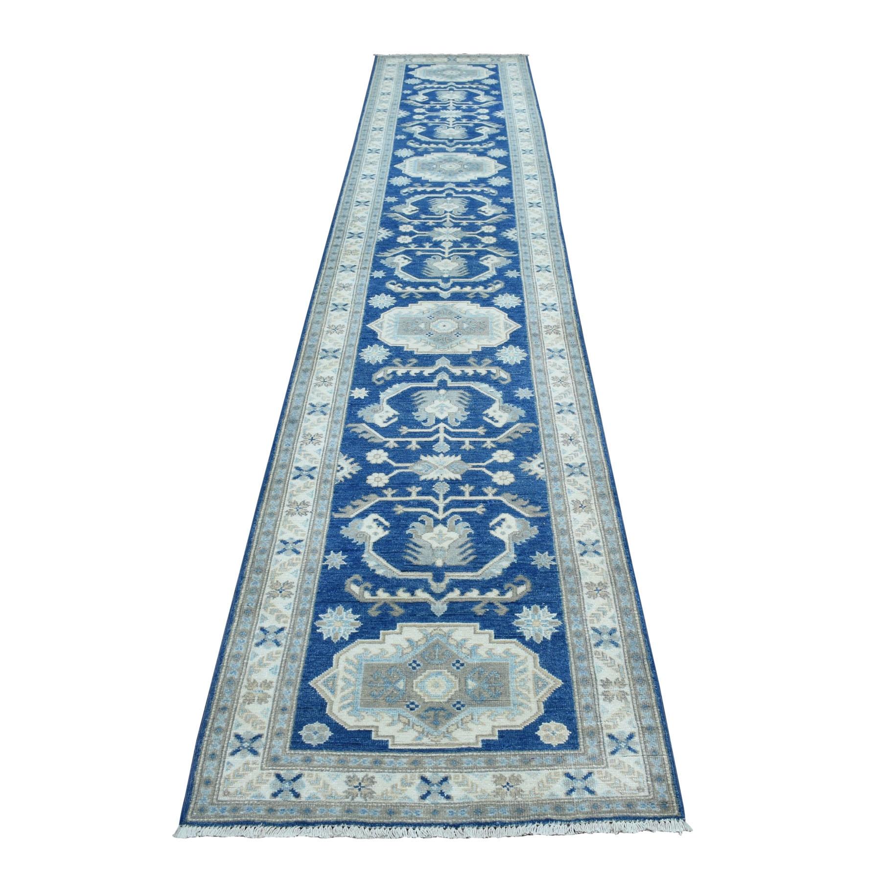 2 7 X14 3 Hand Woven Blue Vintage Look Kazak Pure Wool Xl Runner