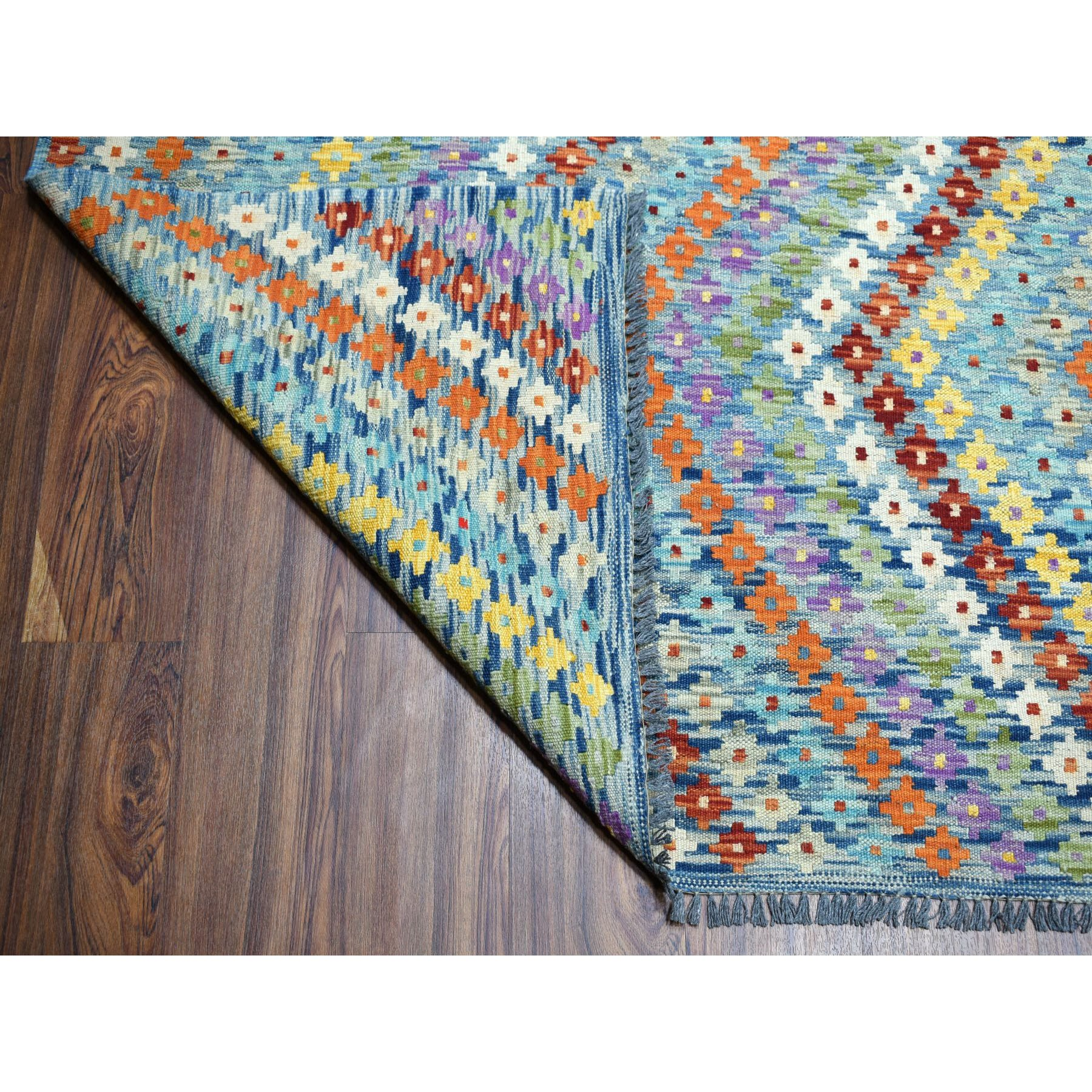 "10'2""x13'4"" Colorful Afghan Kilim Pure Wool Hand Woven Oriental Rug"