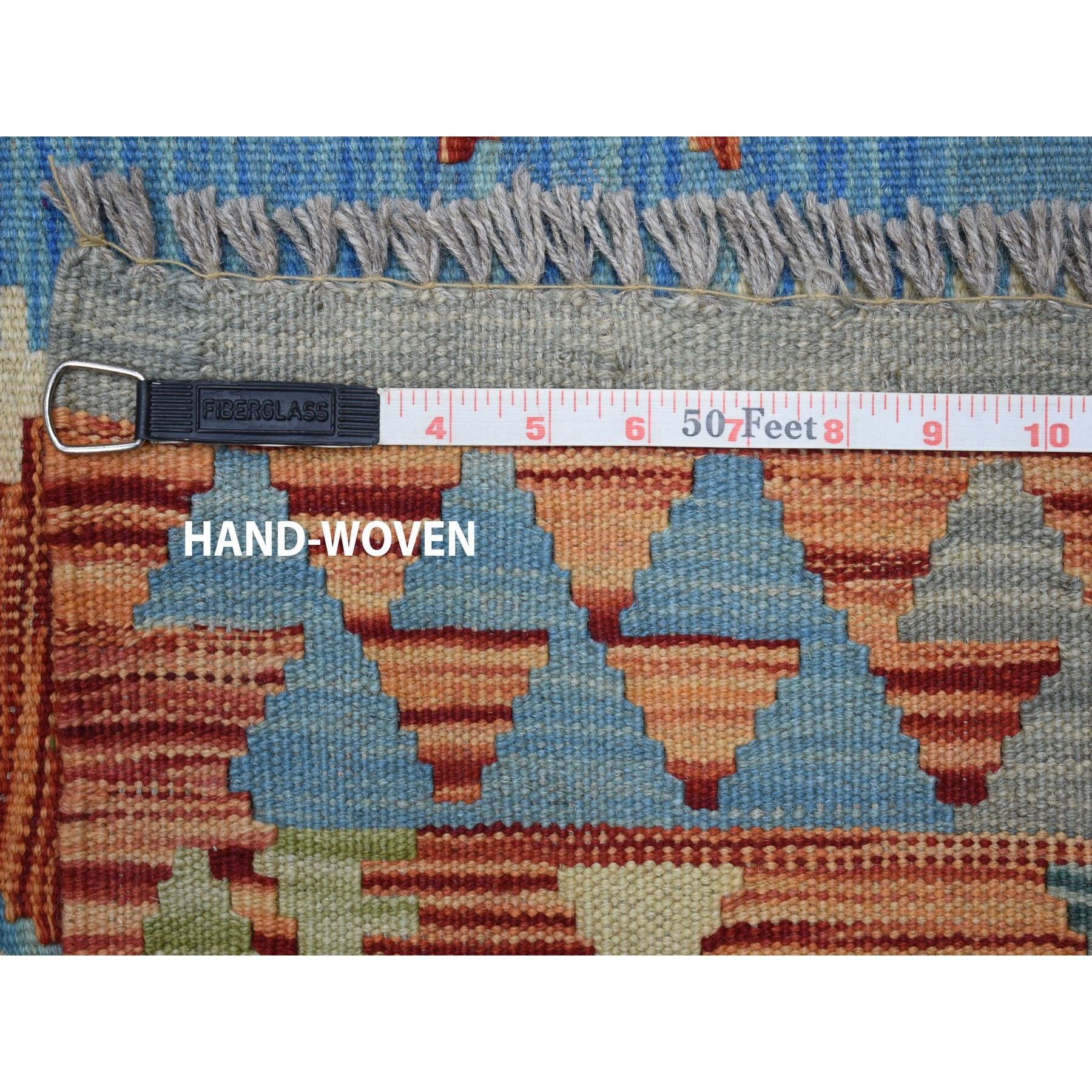 "10'3""x11'3"" Colorful Afghan Kilim Pure Wool Hand Woven Oriental Rug"