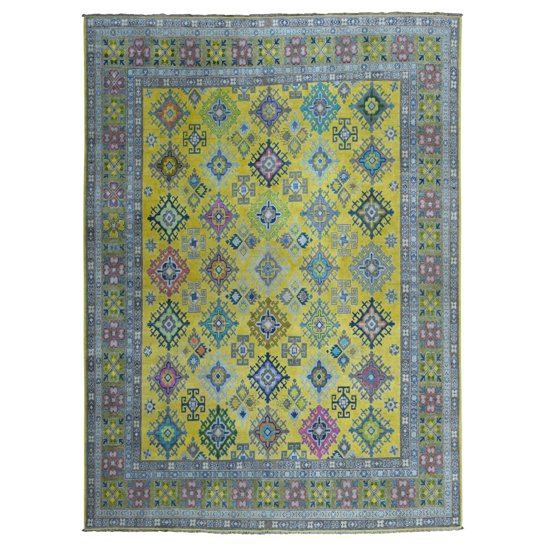 8'x10' Colorful Yellow Fusion Kazak Pure Wool Geometric Design Hand Woven Oriental Rug