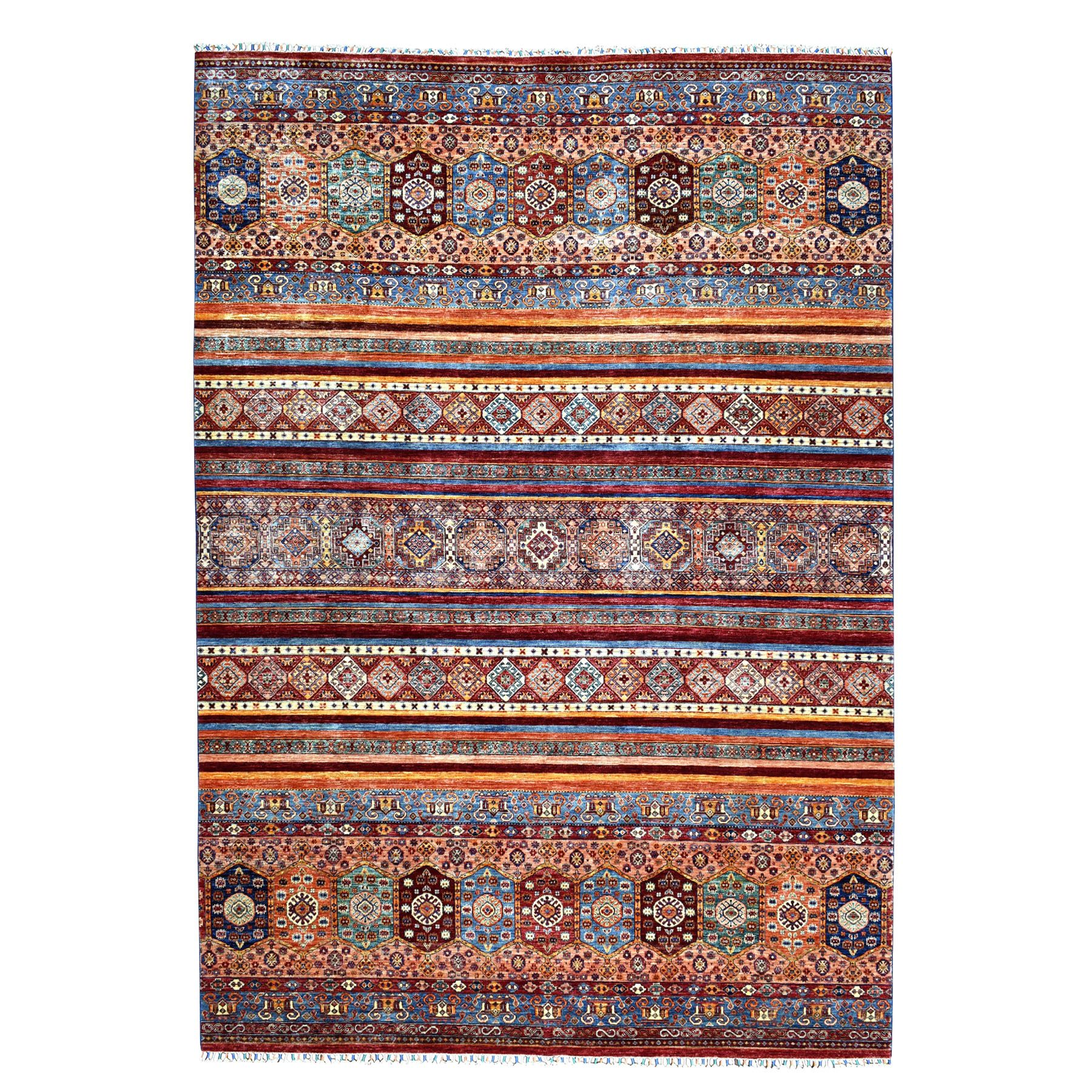"8'9""x11'9"" Khorjin Design Colorful Super Kazak Pure Wool Hand Woven Oriental Rug"