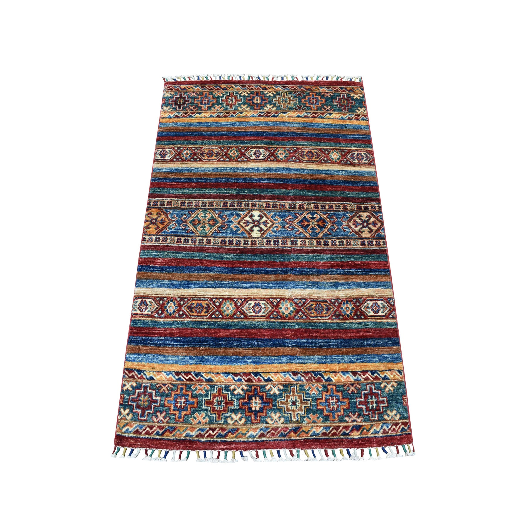 "2'10""x4'4"" Khorjin Design Colorful Super Kazak Pure Wool Hand Woven Oriental Rug"