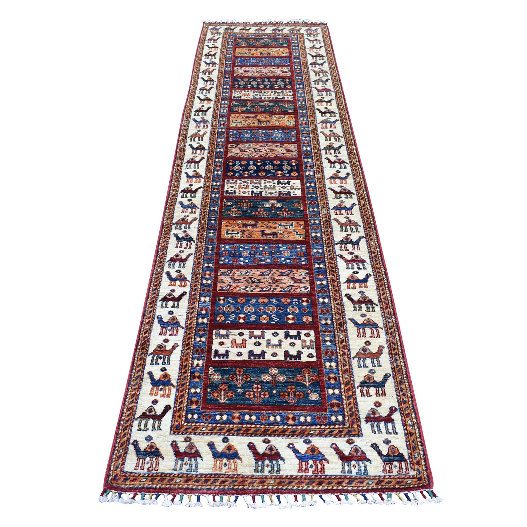 "2'7""x10' Khorjin Design Colorful Runner Super Kazak Pure Wool Hand Woven Oriental Rug"