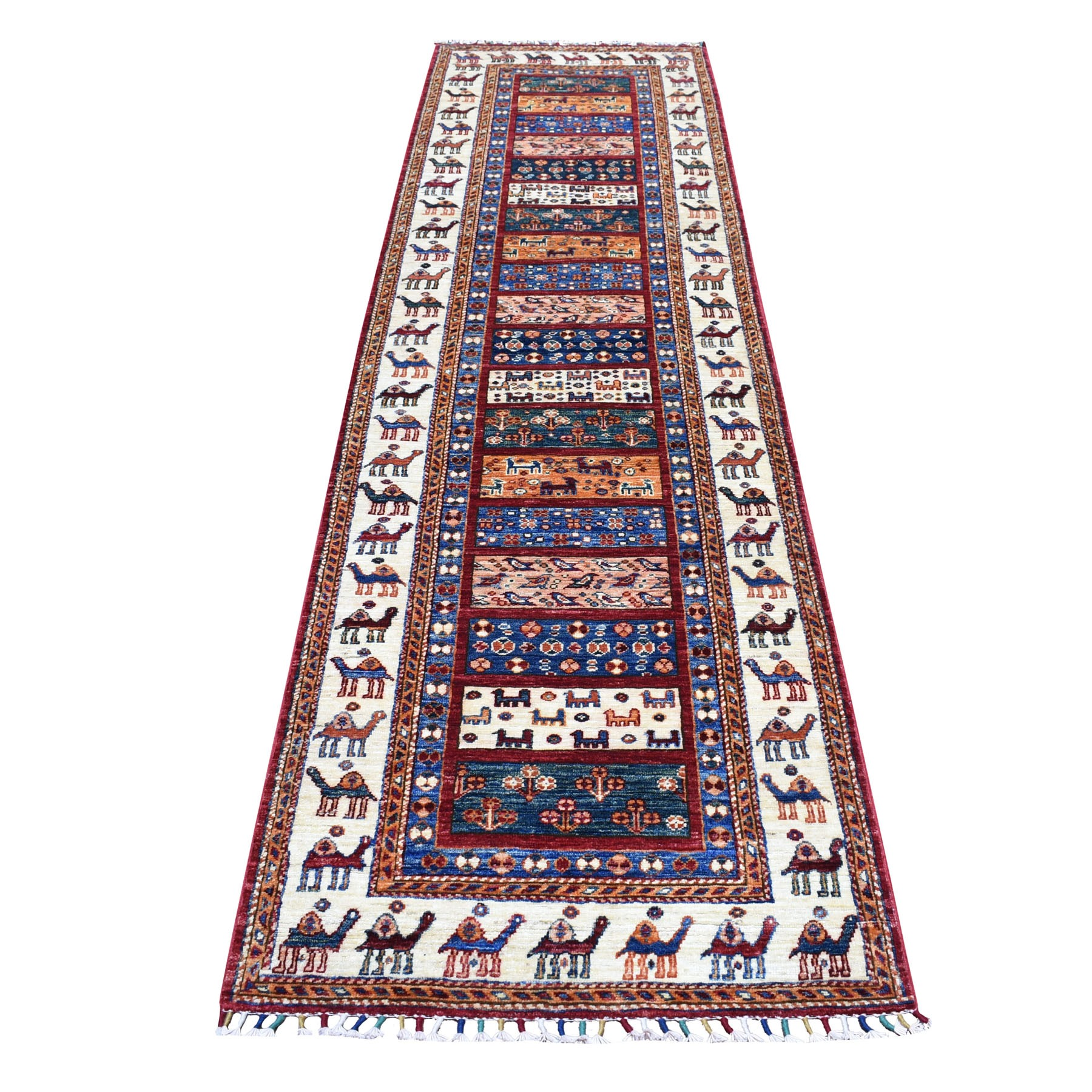 "2'8""x10' Khorjin Design Colorful Runner Super Kazak Pure Wool Hand Woven Oriental Rug"