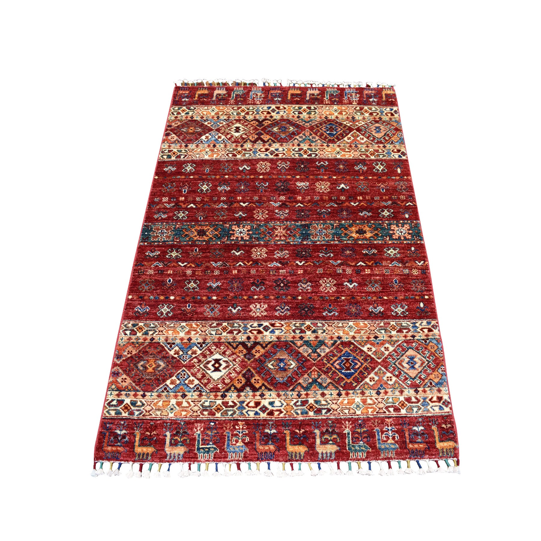 "3'4""x5' Khorjin Design Red Super Kazak Pure Wool Hand Woven Oriental Rug"