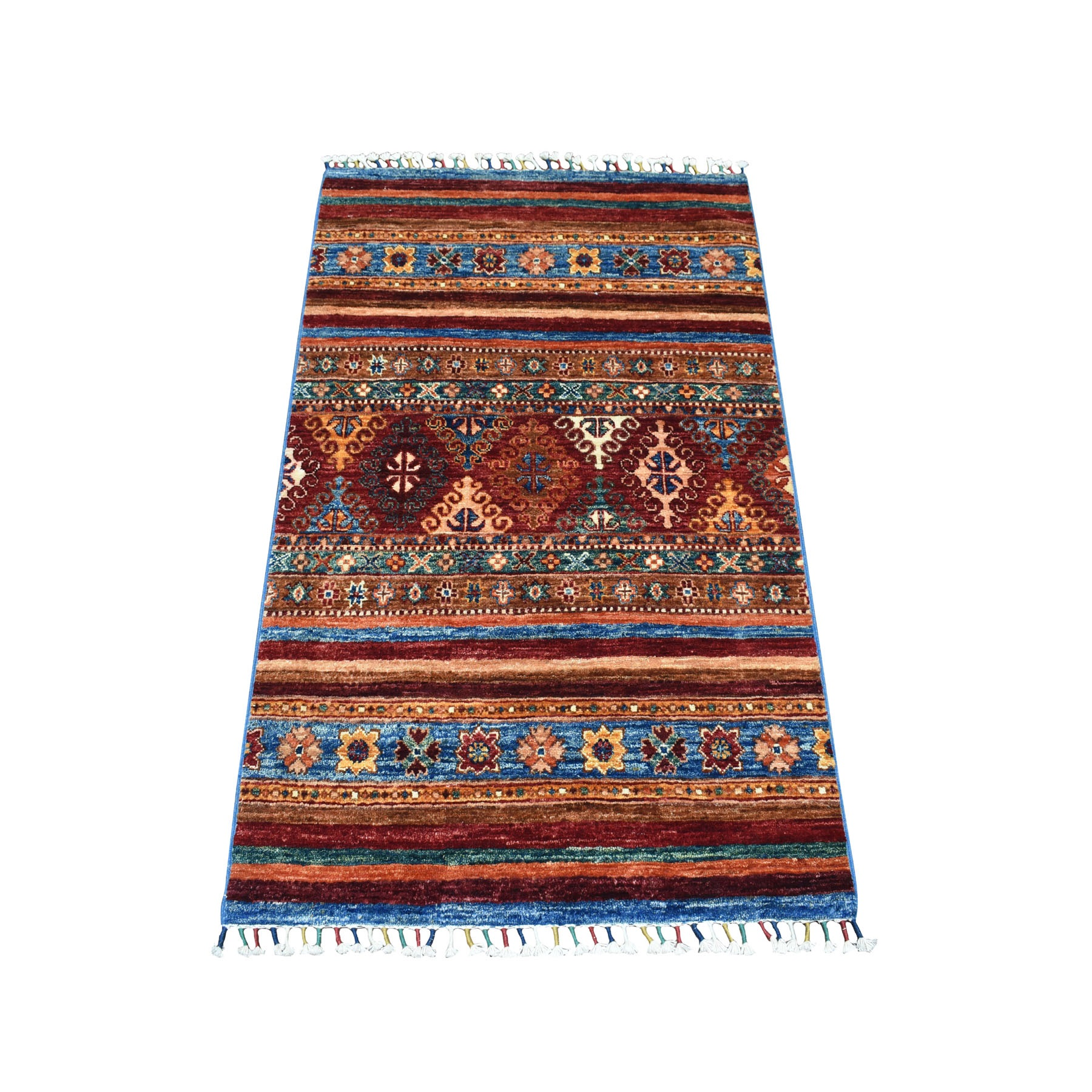 "2'8""x4' Khorjin Design Colorful Super Kazak Pure Wool Hand Woven Oriental Rug"