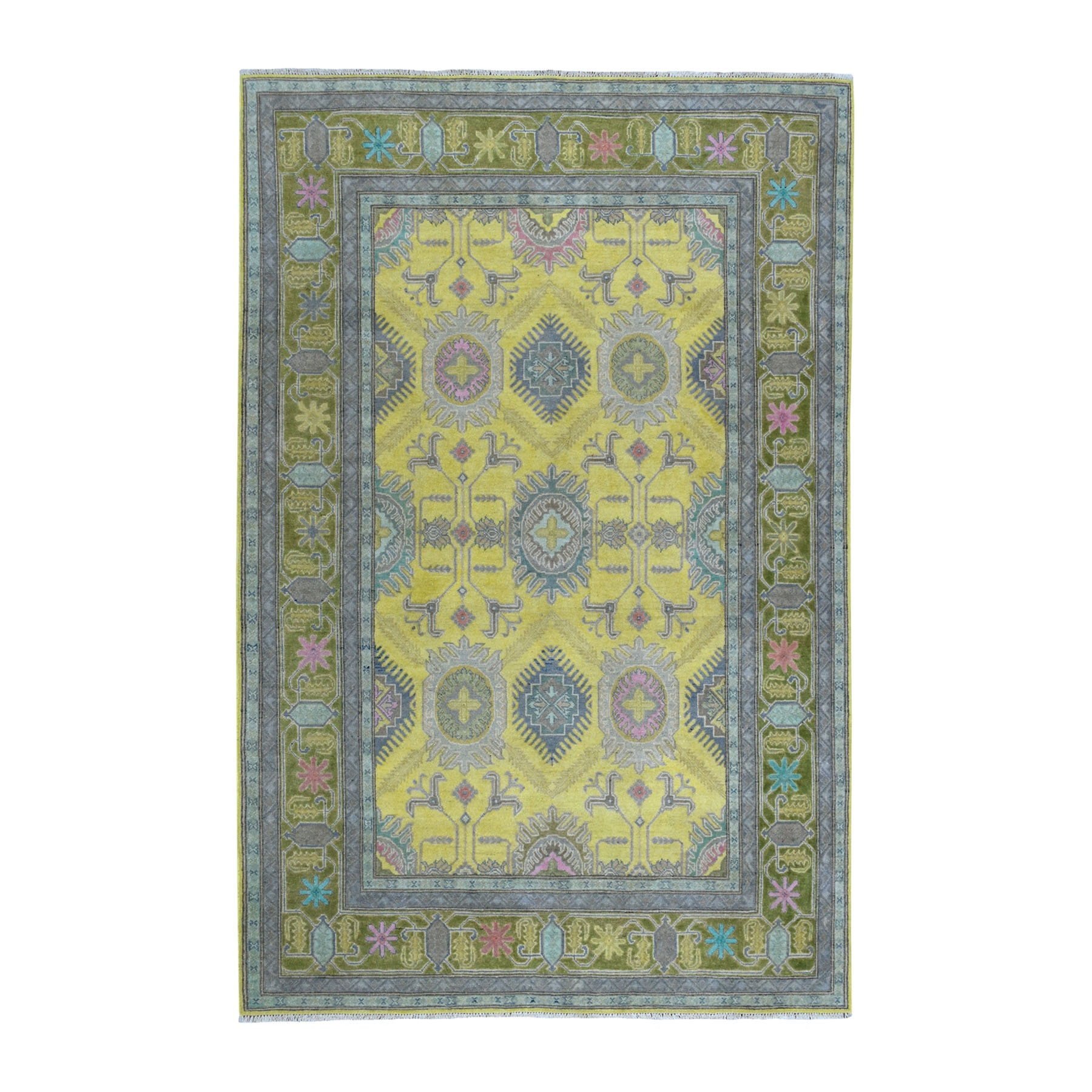 "6'1""x8'9"" Colorful Yellow Fusion Kazak Pure Wool Geometric Design Hand Woven Oriental Rug"