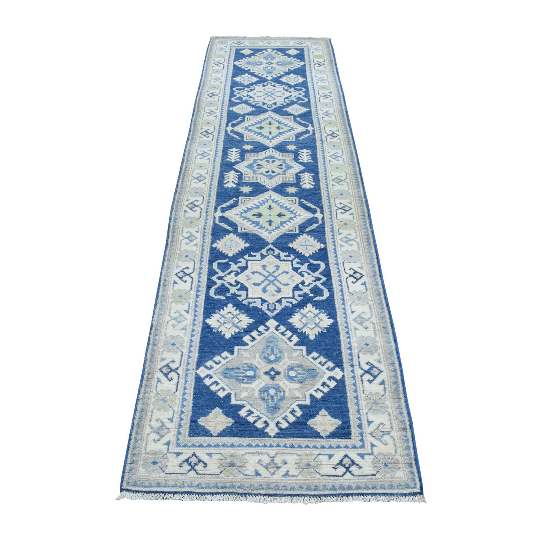 2 8 X9 8 Vintage Look Kazak Geometric Design Blue Runner Pure