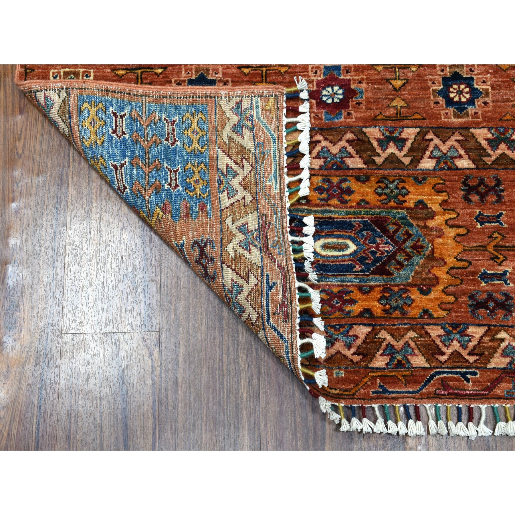 Orange Super Kazak Geometric Pure Wool