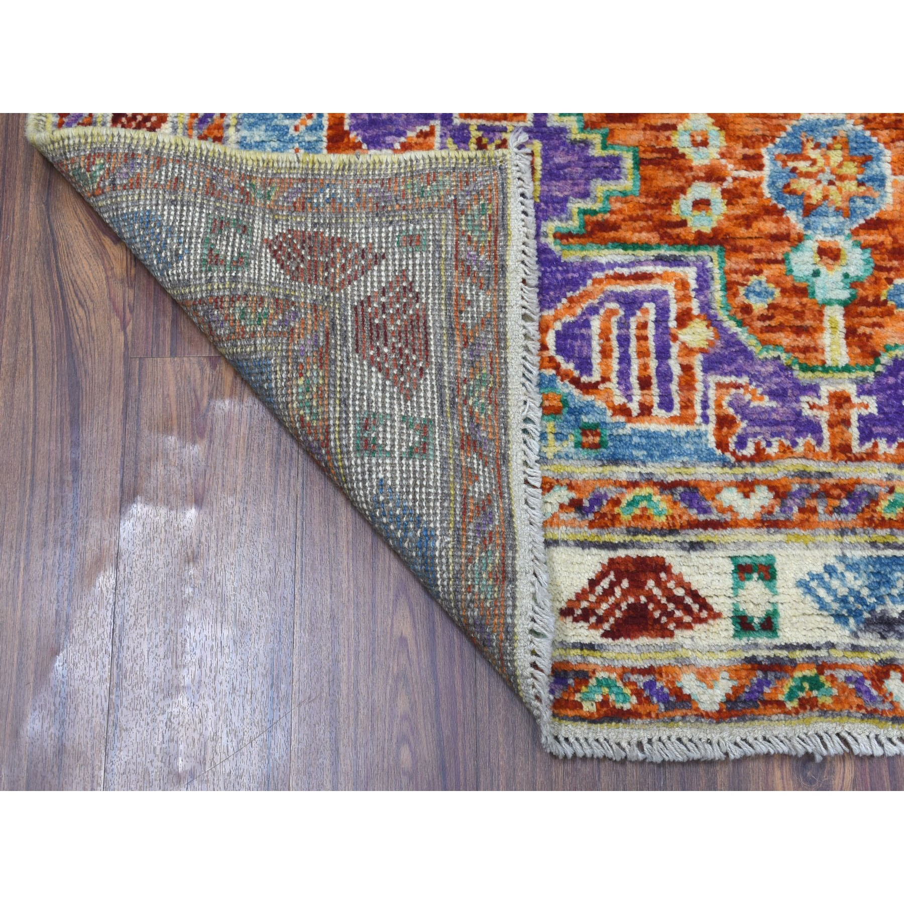 "5'x6'6"" Natural Dyes Colorful Afghan Baluch Geometric Design Hand Woven 100% Wool Oriental Rug"