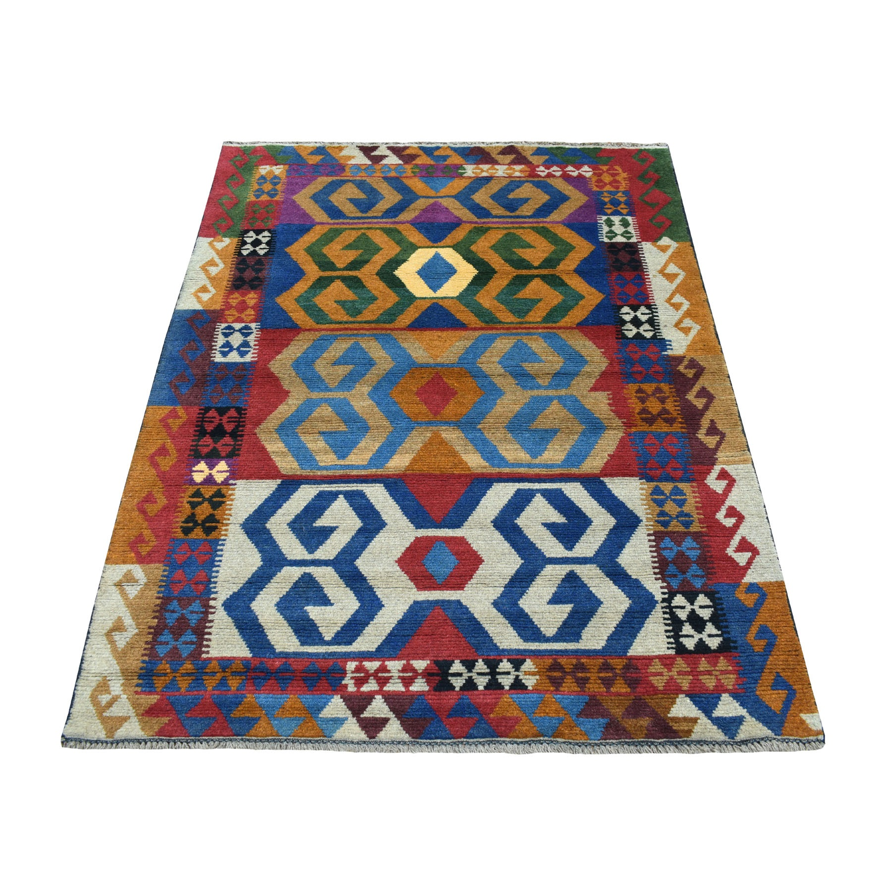 "3'10""x5'6"" Orange Colorful Afghan Baluch Geometric Design Hand Woven Pure Wool Oriental Rug"
