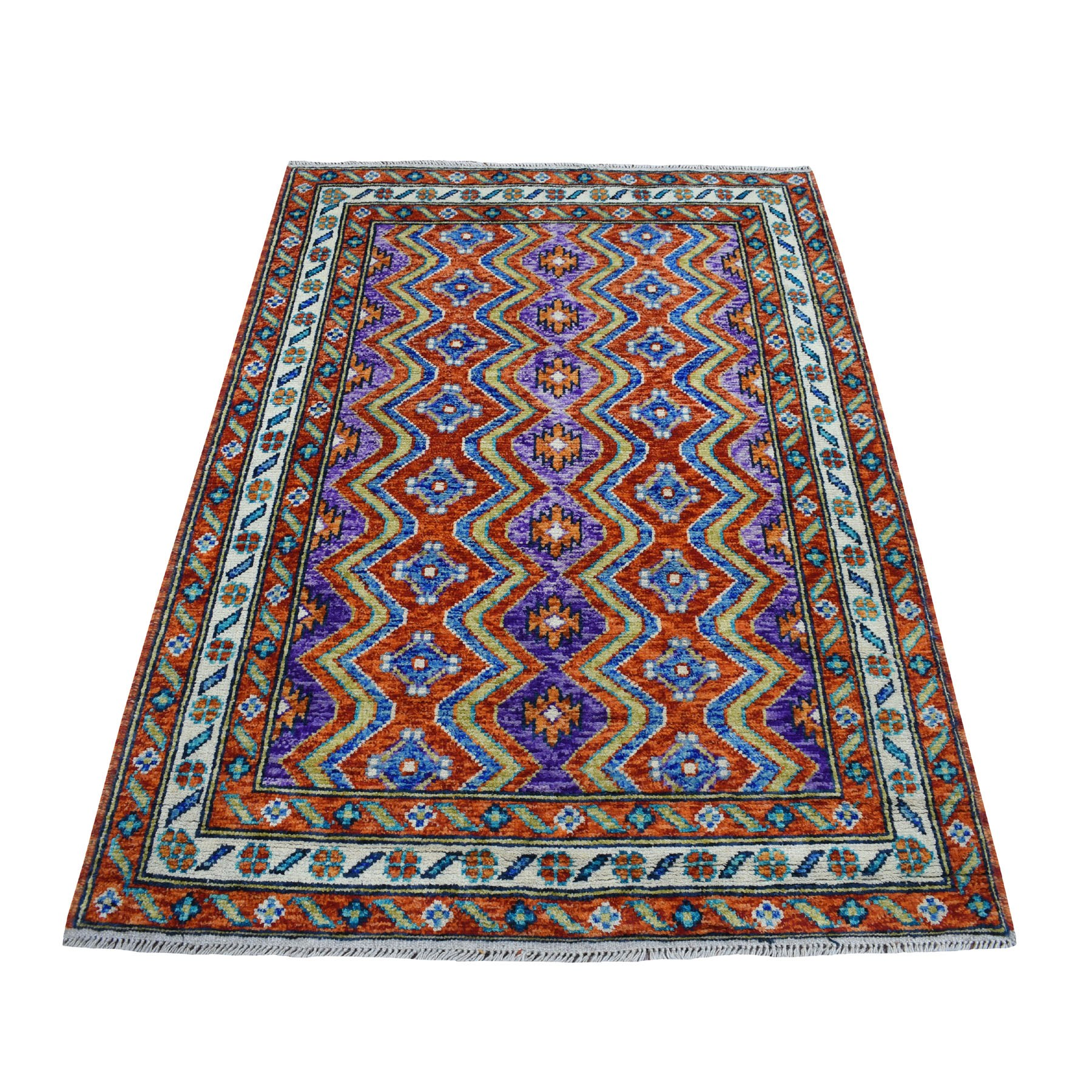 "4'2""x5'10"" Orange Colorful Afghan Baluch Tribal Design Pure Wool Hand Woven Oriental Rug"