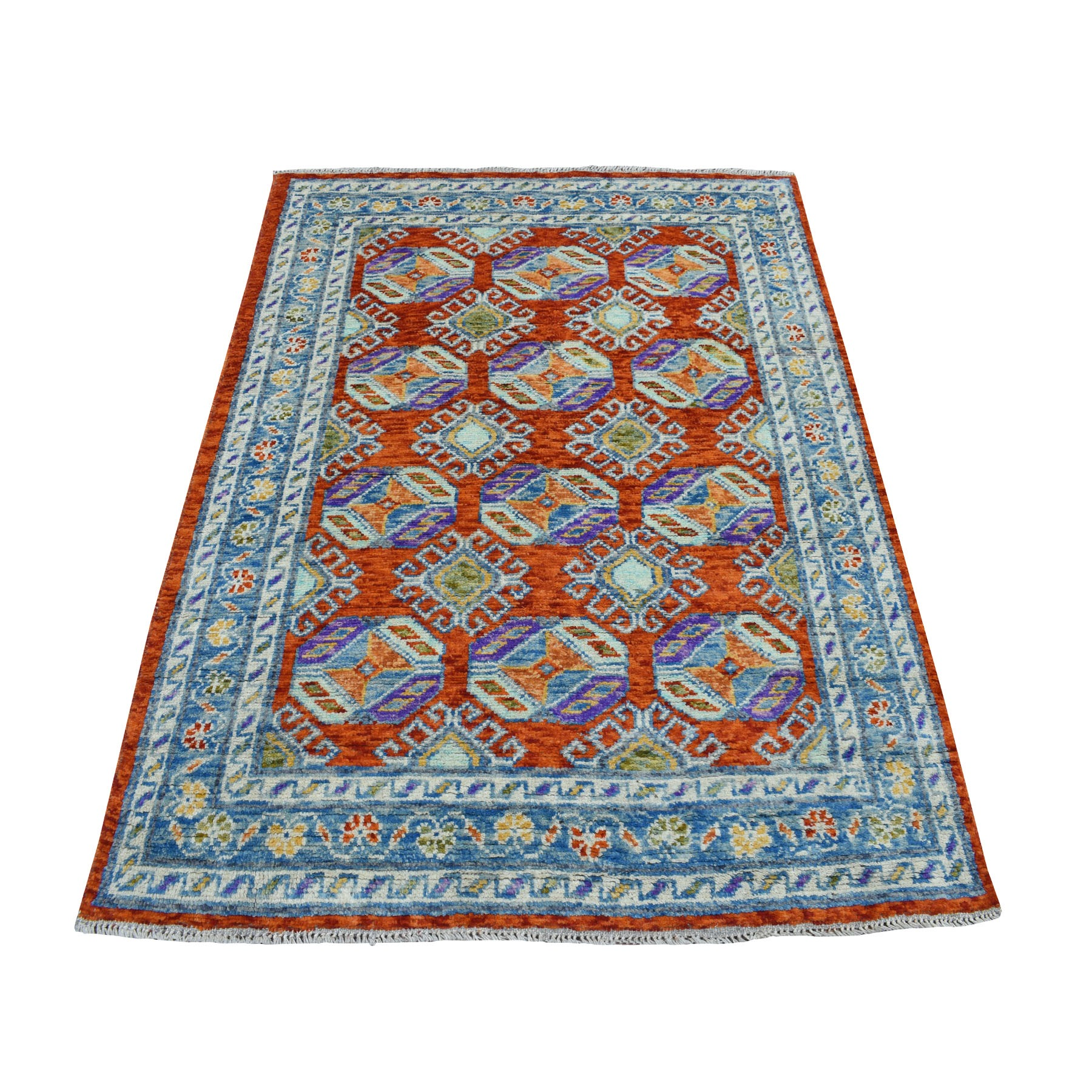 "4'1""x5'9"" Orange Colorful Afghan Baluch Tribal Design Hand Woven Pure Wool Oriental Rug"