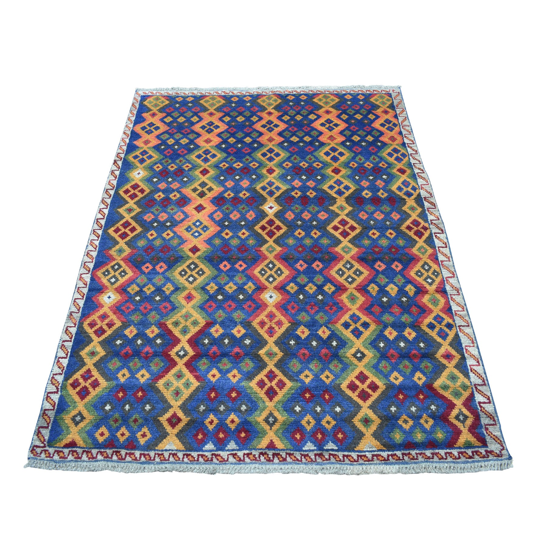 "4'1""x5'8"" Blue Colorful Afghan Baluch Geometric Design Hand Woven Pure Wool Oriental Rug"
