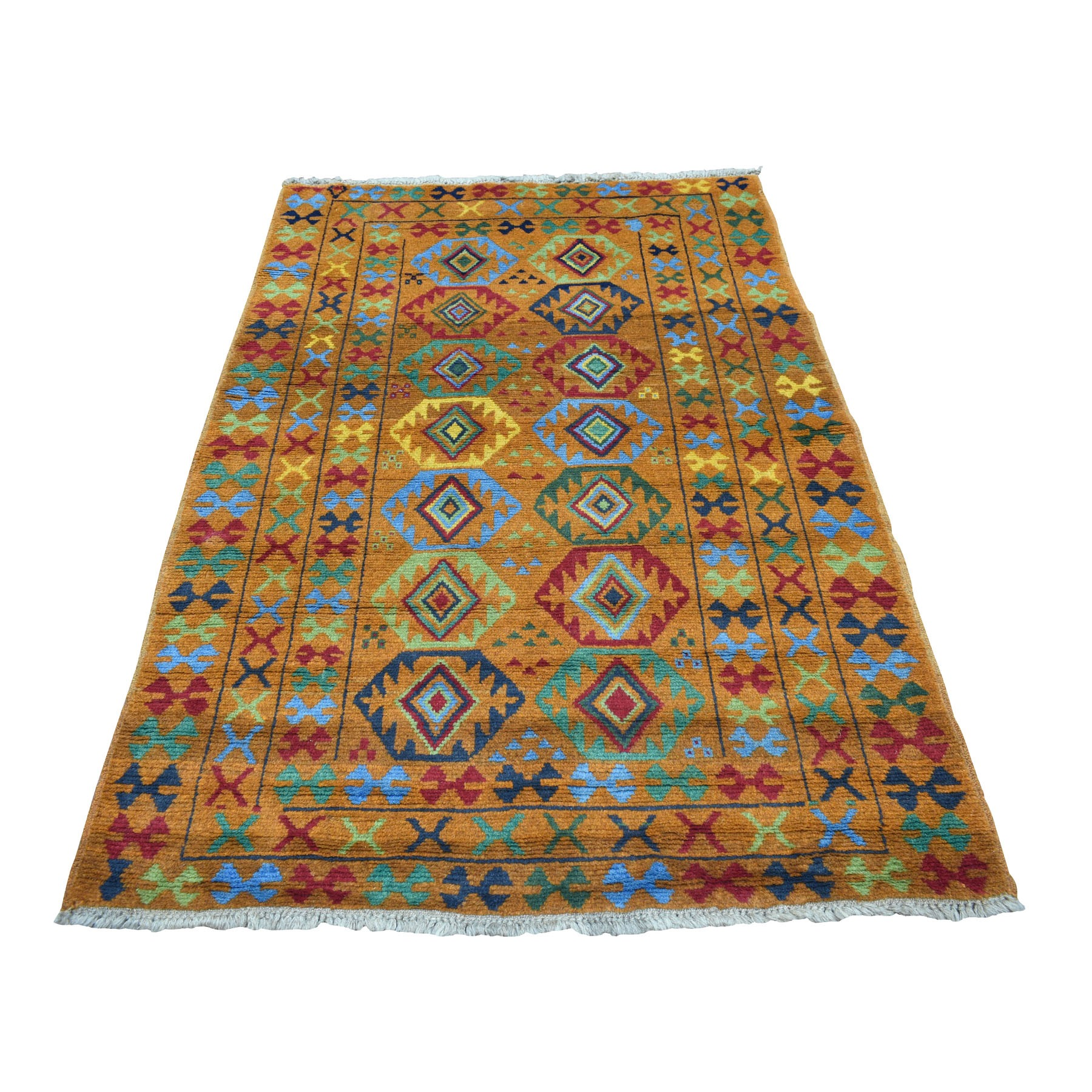 "4'3""x6' Orange Colorful Afghan Baluch Tribal Design Hand Woven Pure Wool Oriental Rug"