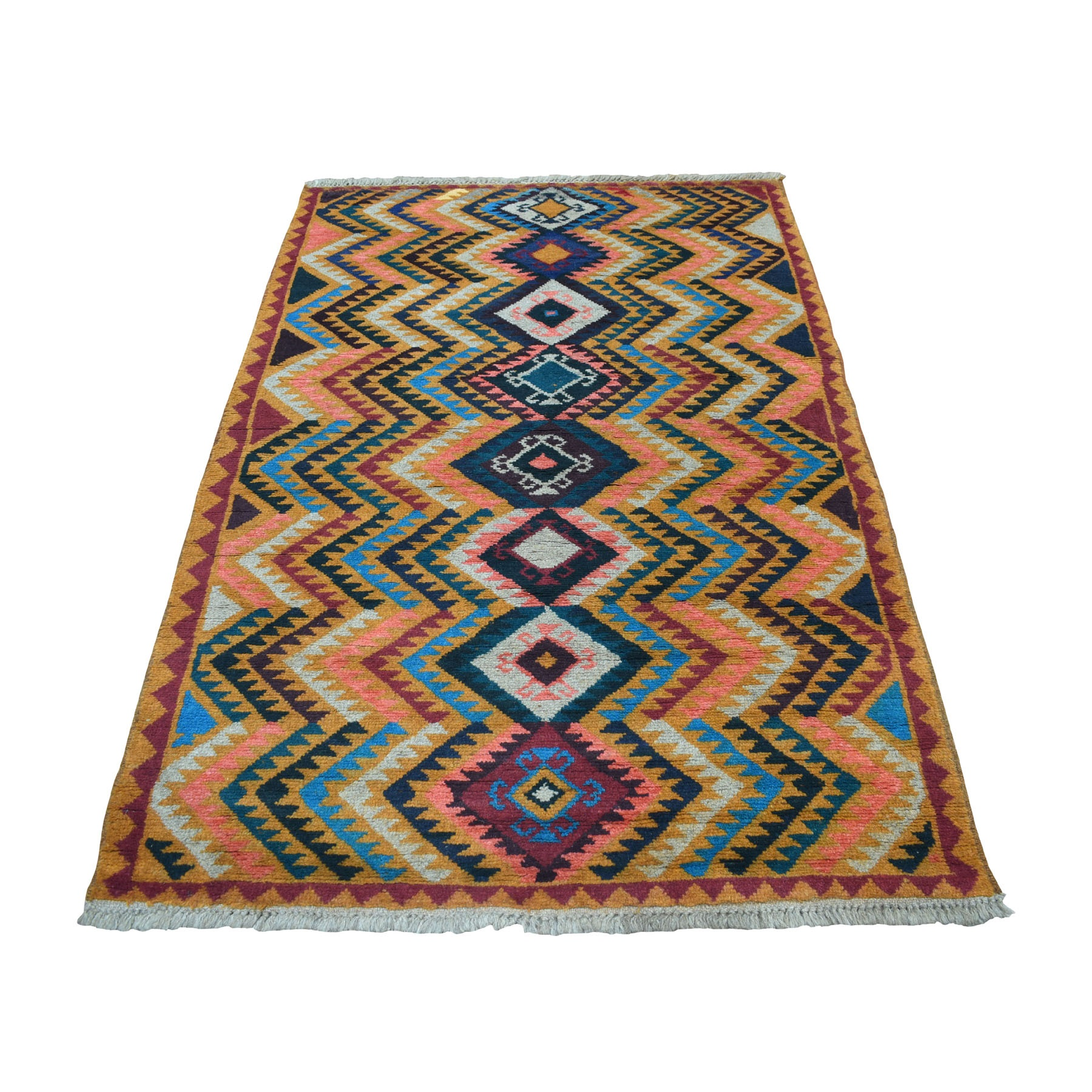 "3'9""x6'3"" Orange Colorful Afghan Baluch Geometric Design Hand Woven Pure Wool Oriental Rug"