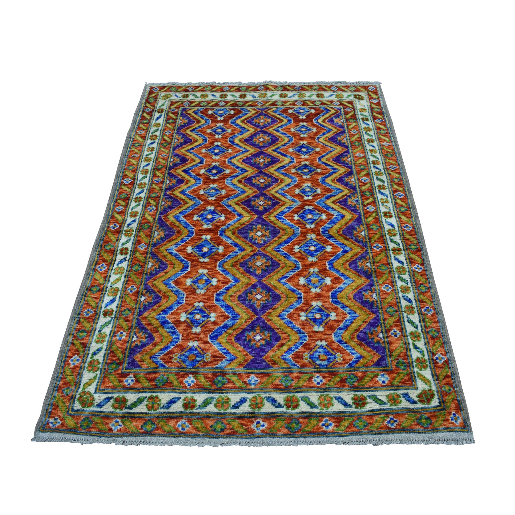 "4'x5'10"" Orange Colorful Afghan Baluch Tribal Design Hand Woven Pure Wool Oriental Rug"