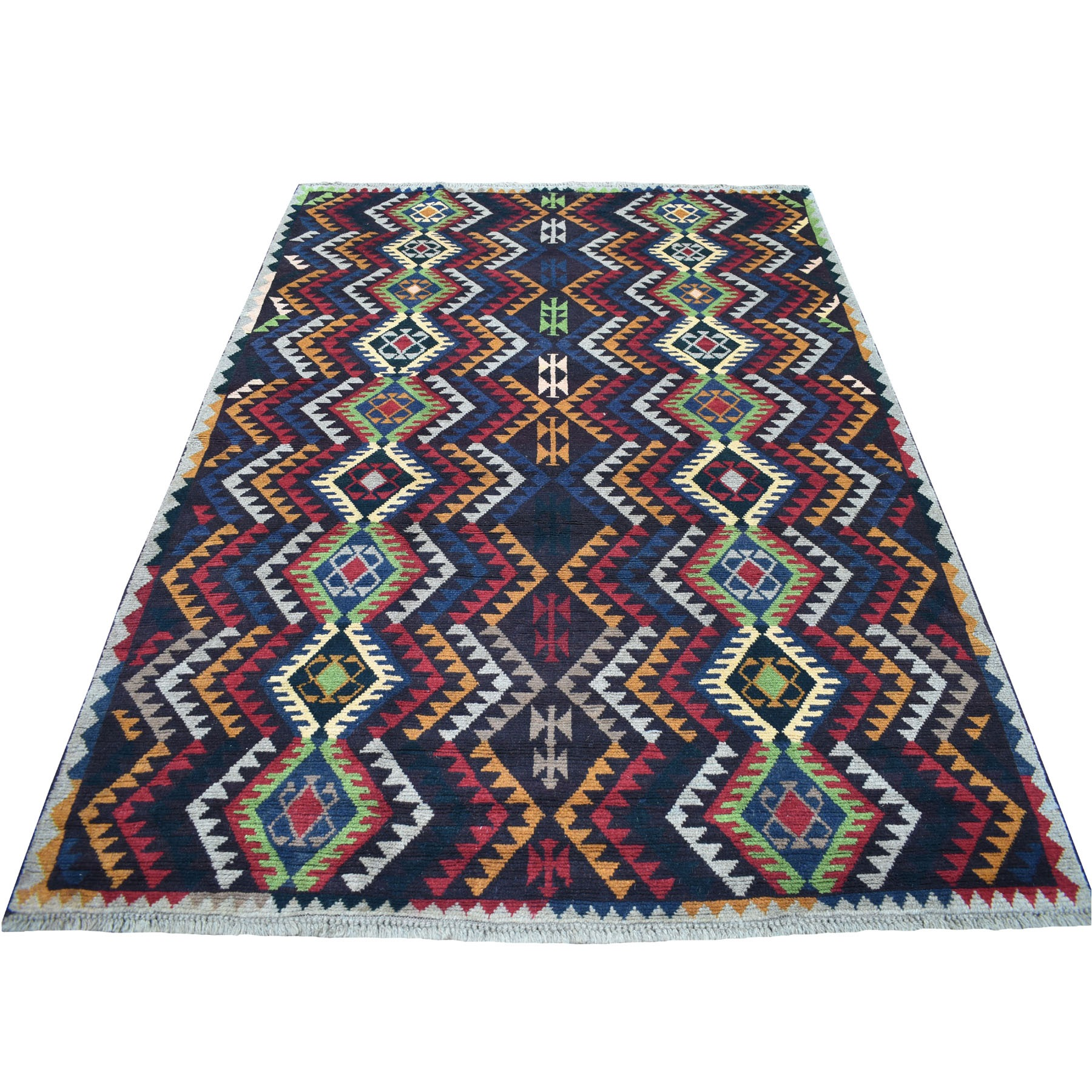 6'x8' Black Colorful Afghan Baluch Geometric Design Hand Woven Pure Wool Runner Oriental Rug