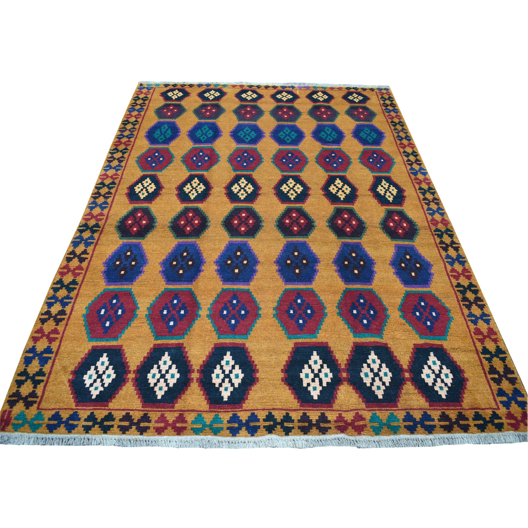 "6'x7'10"" Orange Geometric Design Colorful Afghan Baluch Hand Woven Pure Wool Oriental Rug"