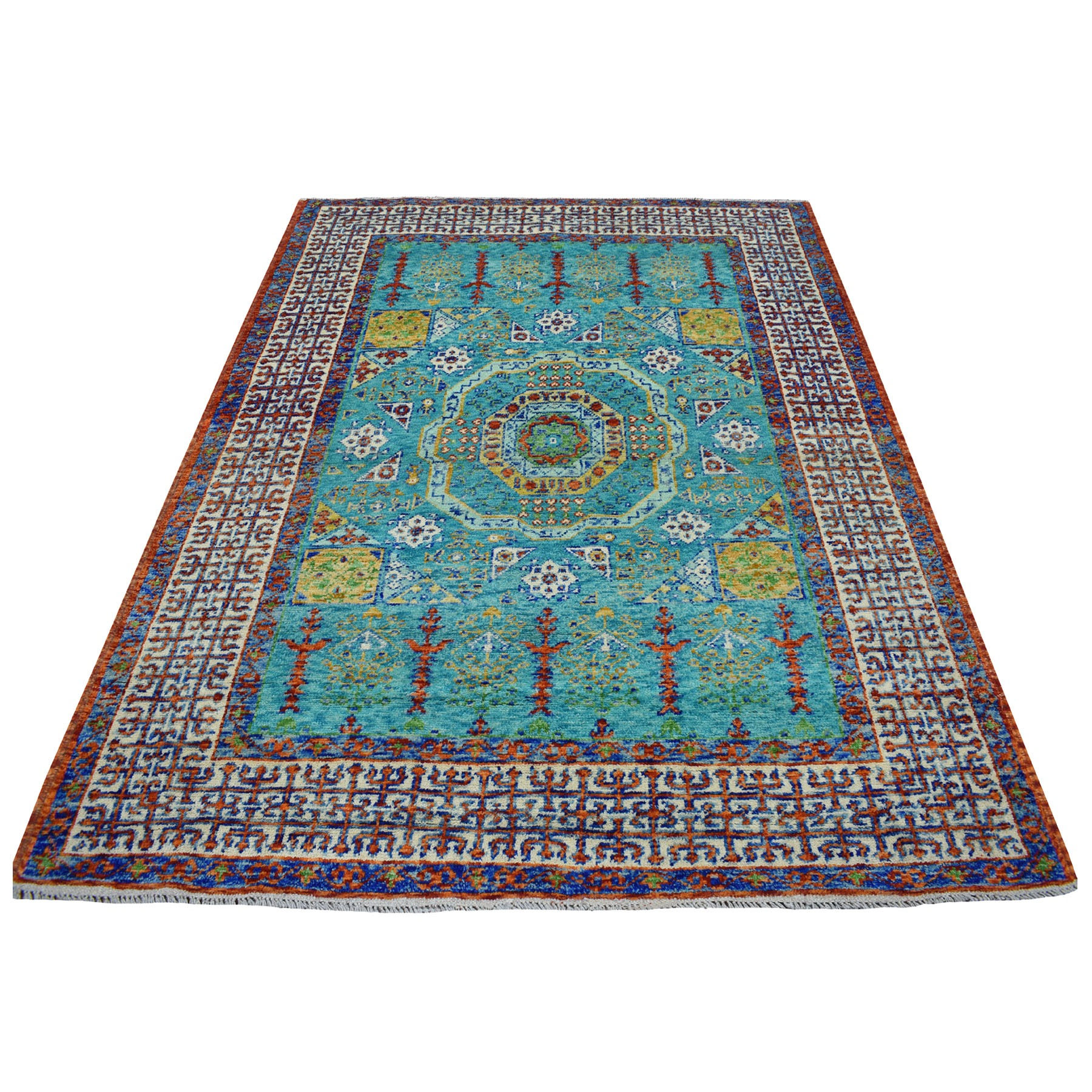 "6'x7'10"" Green Mamluk Design Colorful Afghan Baluch Hand Woven Pure Wool Oriental Rug"