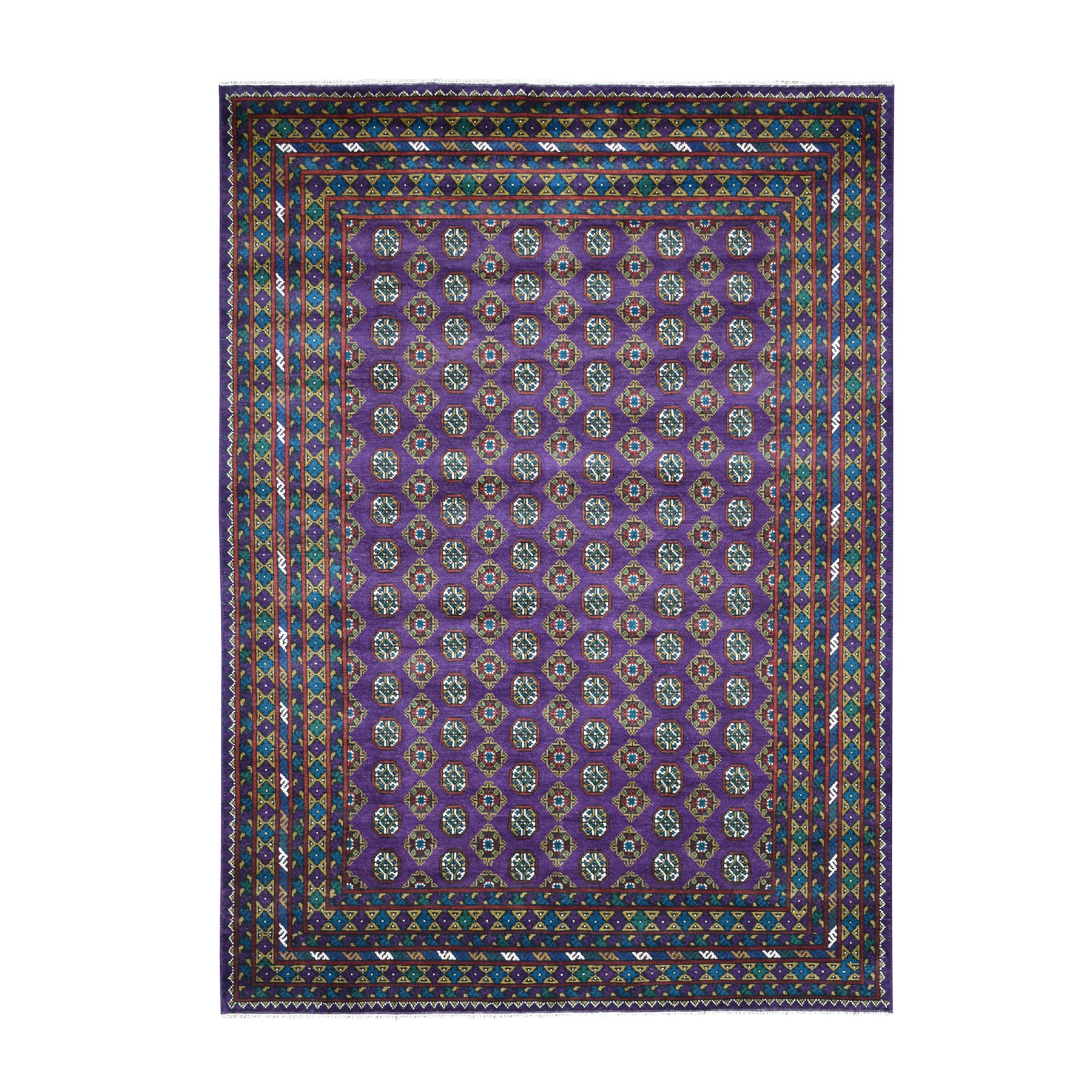 "6'7""x9'4"" Purple Colorful Afghan Baluch Hand Woven Tribal Design Pure Wool Oriental Rug"