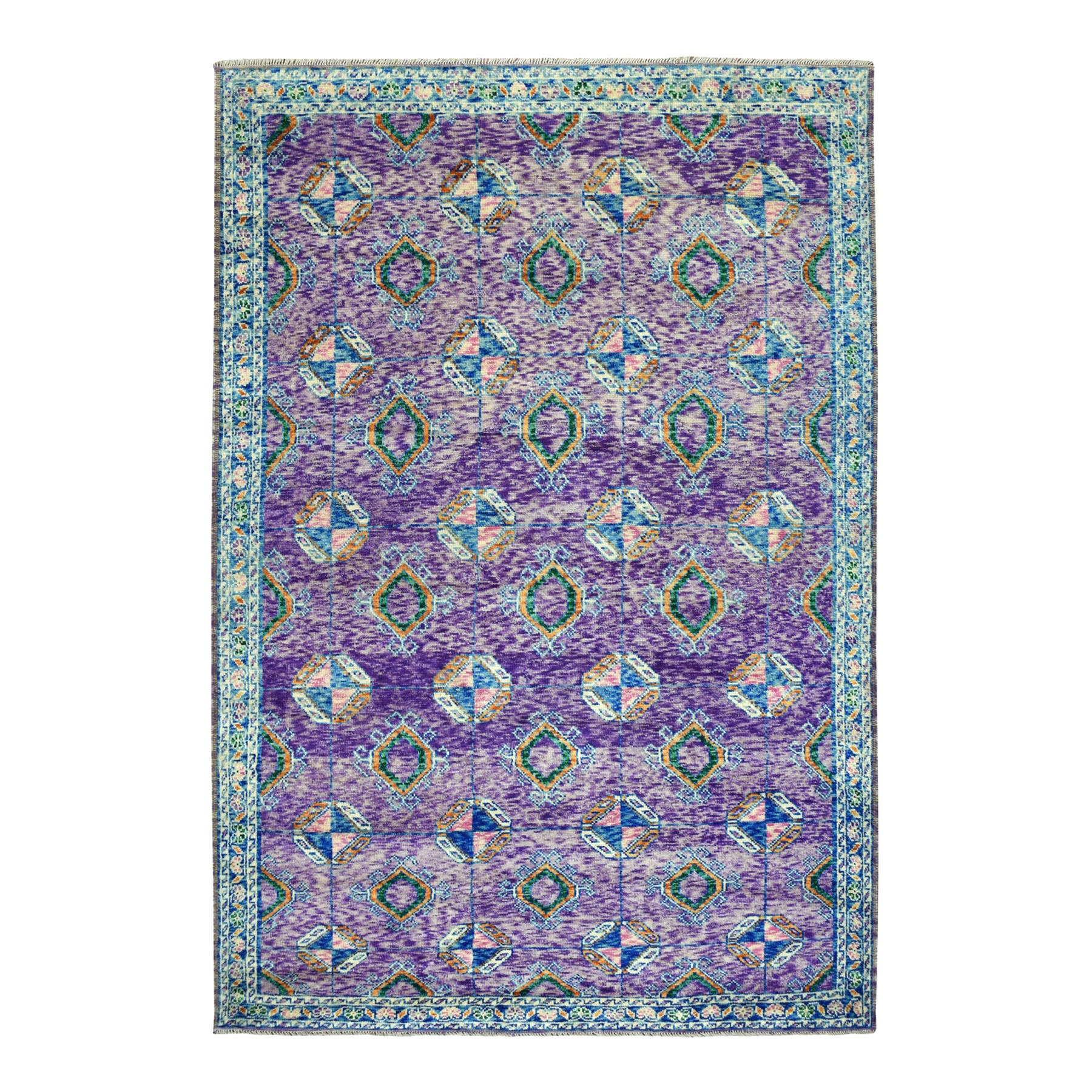 "6'6""x9'7"" Purple Tribal Design Colorful Afghan Baluch Hand Woven Pure Wool Oriental Rug"