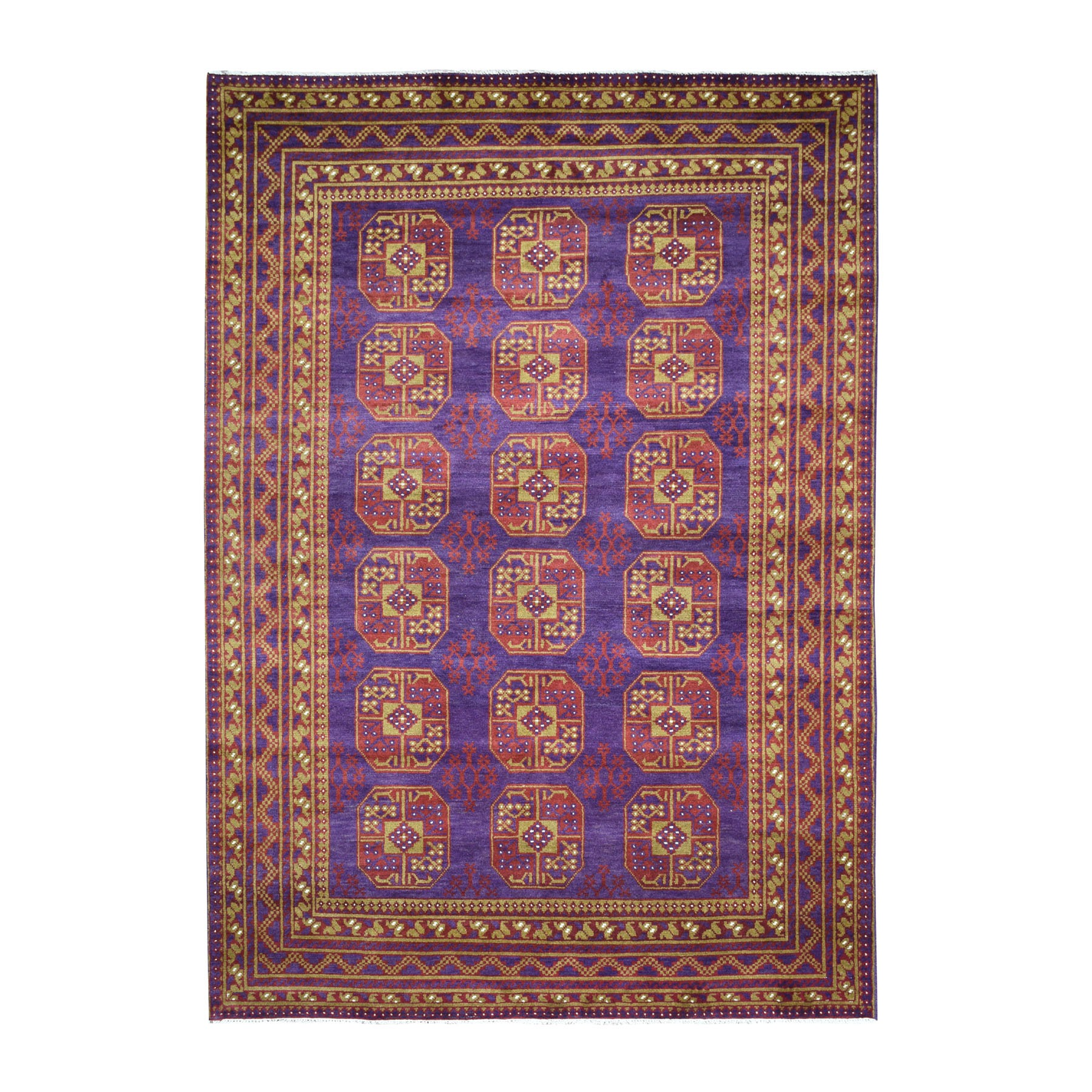 "6'7""x9'2"" Purple Elephant Feet Design Colorful Afghan Baluch Hand Woven Pure Wool Oriental Rug"