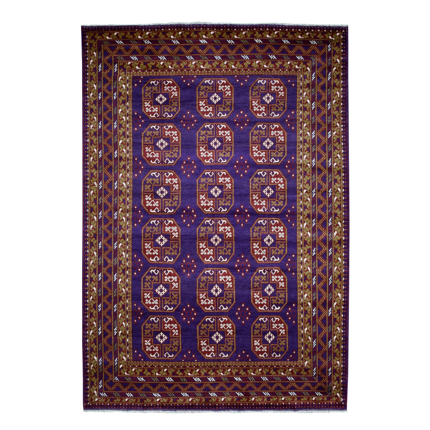 "6'8""x9'5"" Purple Elephant Feet Design Colorful Afghan Baluch Hand Woven Pure Wool Oriental Rug"