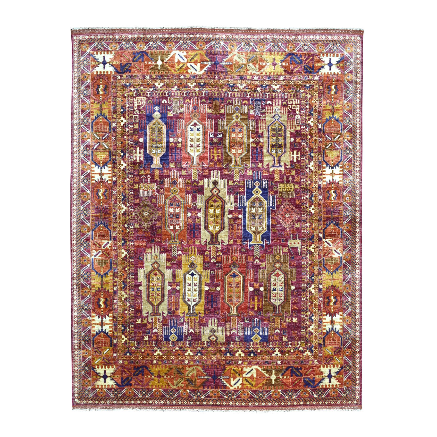 "8'1""x9'10"" Afghan Ersari Natural Dyes Soft Pile Colorful Geometric Design Hand Woven 100%Wool Oriental Rug"
