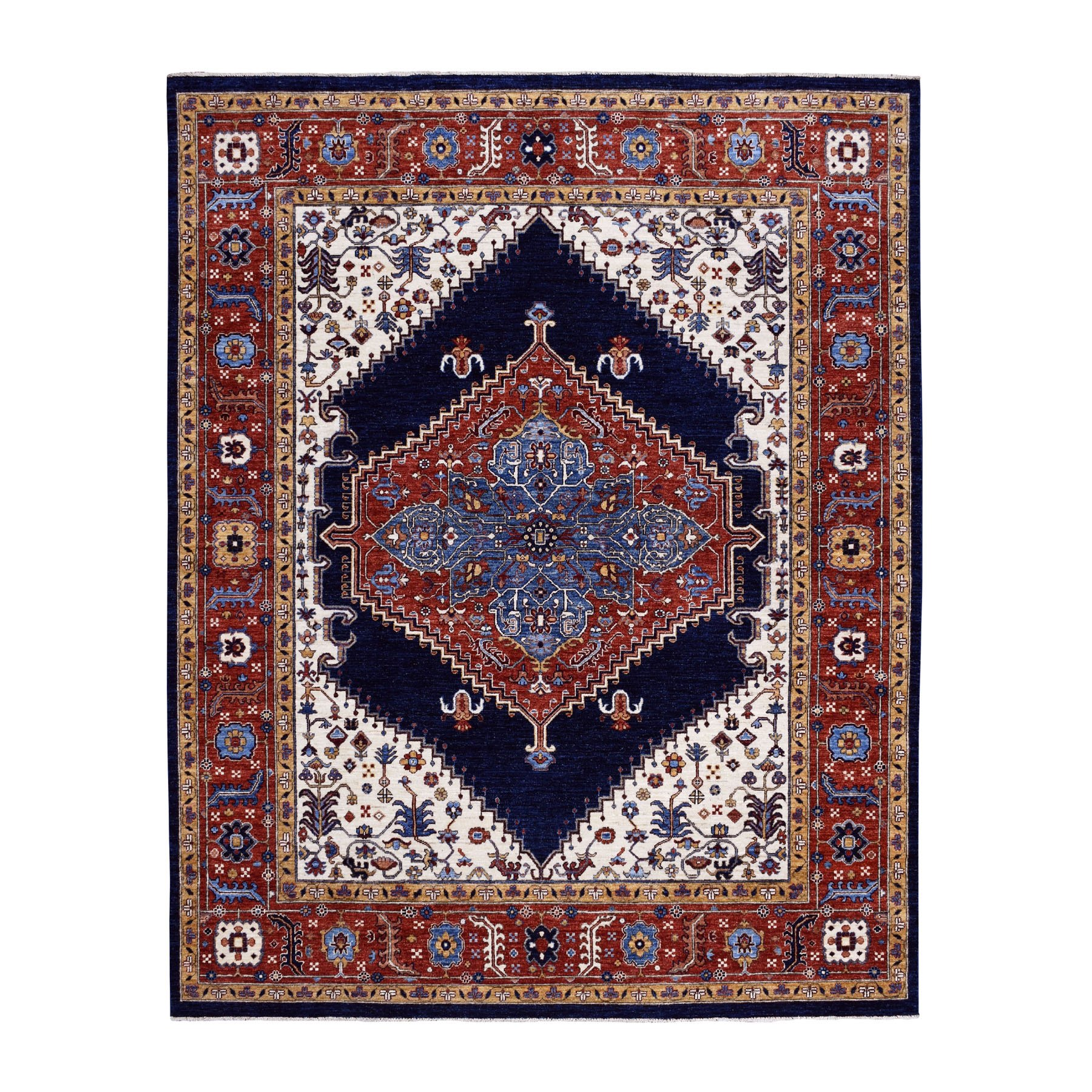 "7'10""x9'5"" Navy Blue Peshawar With Heriz Design Hand Woven Pure Wool Oriental Rug"