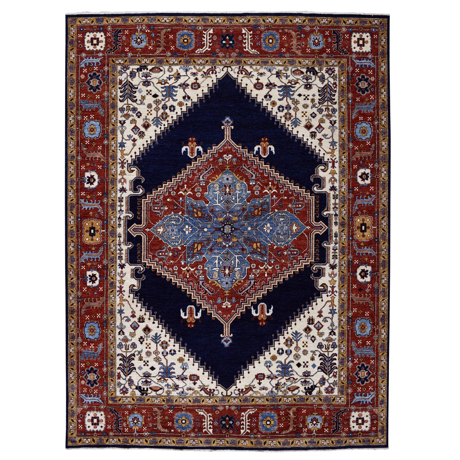 "9'x11'9"" Blue Peshawar With Heriz Design Hand Woven Pure Wool Oriental Rug"