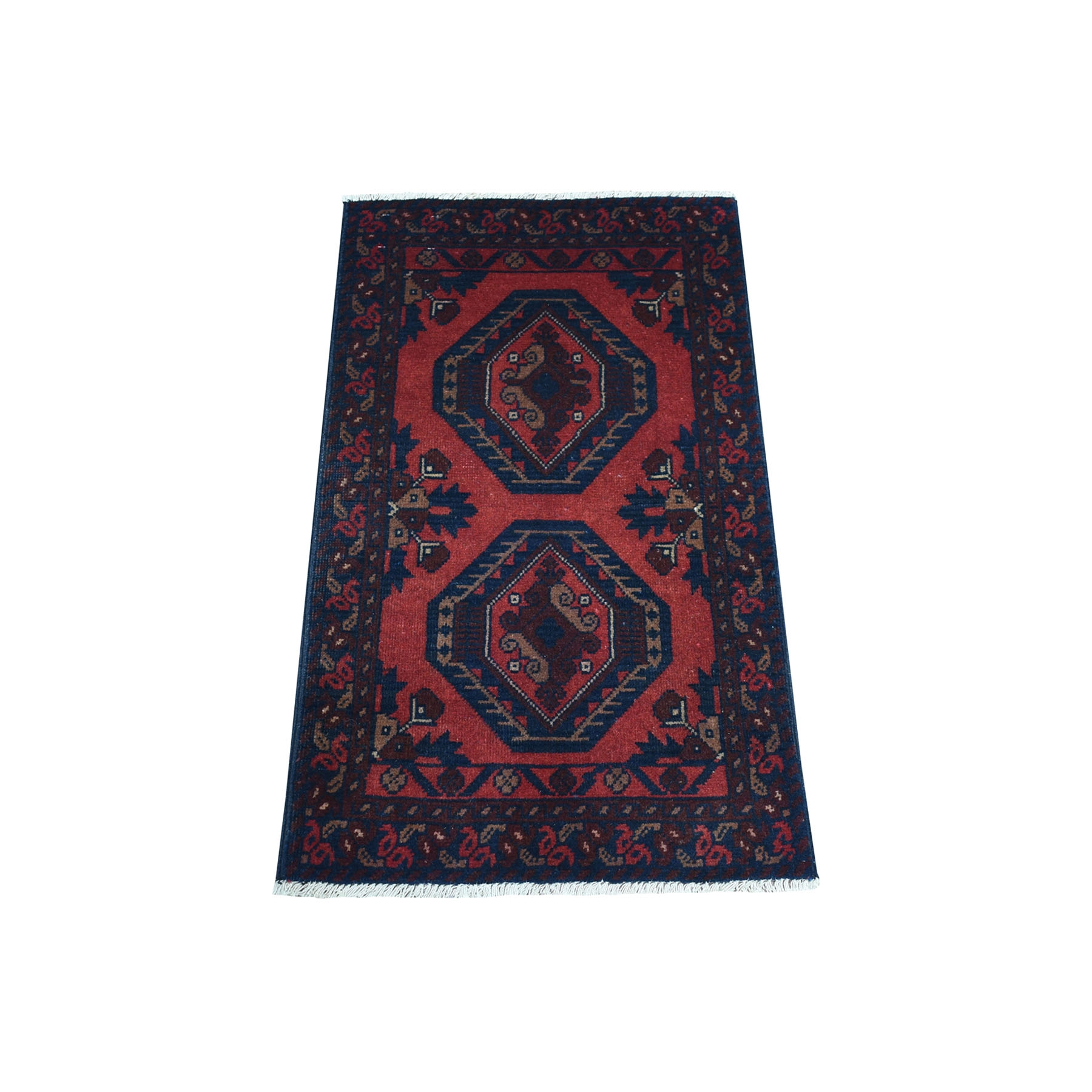 "1'8""x3'2"" Deep and Saturated Red Geometric Afghan Andkhoy Pure Wool Hand Woven Oriental Rug"